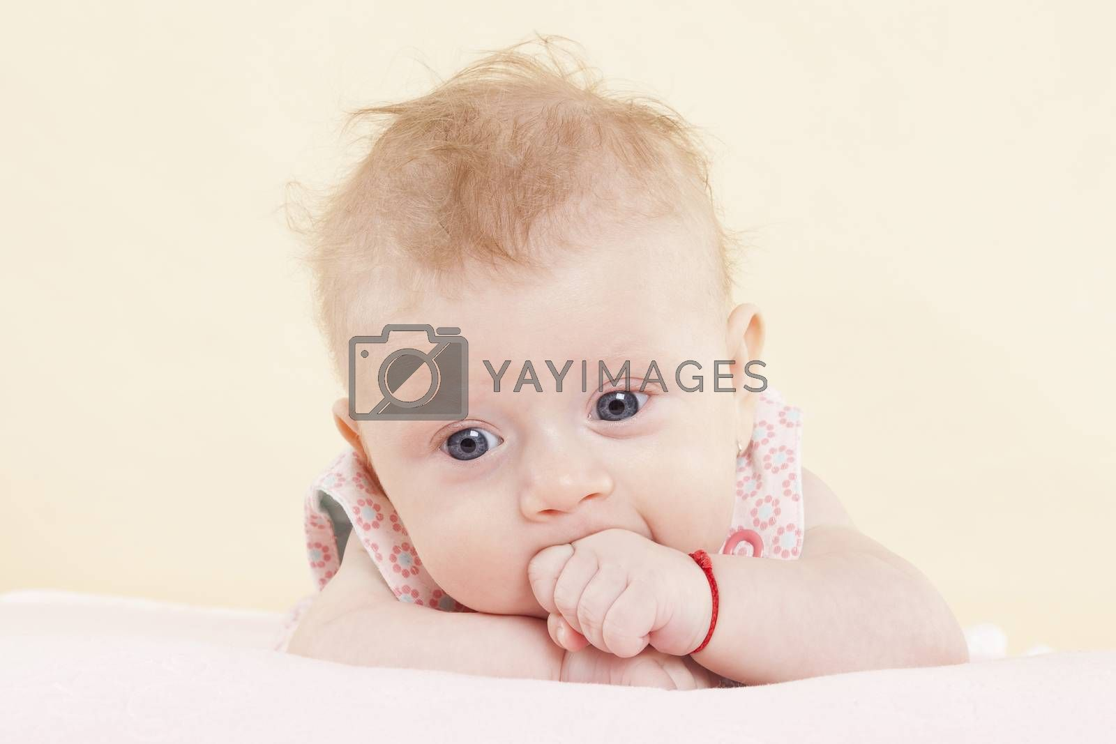 Baby girl with big blue eyes and fist in mouth portrait. Cute newborn concept.