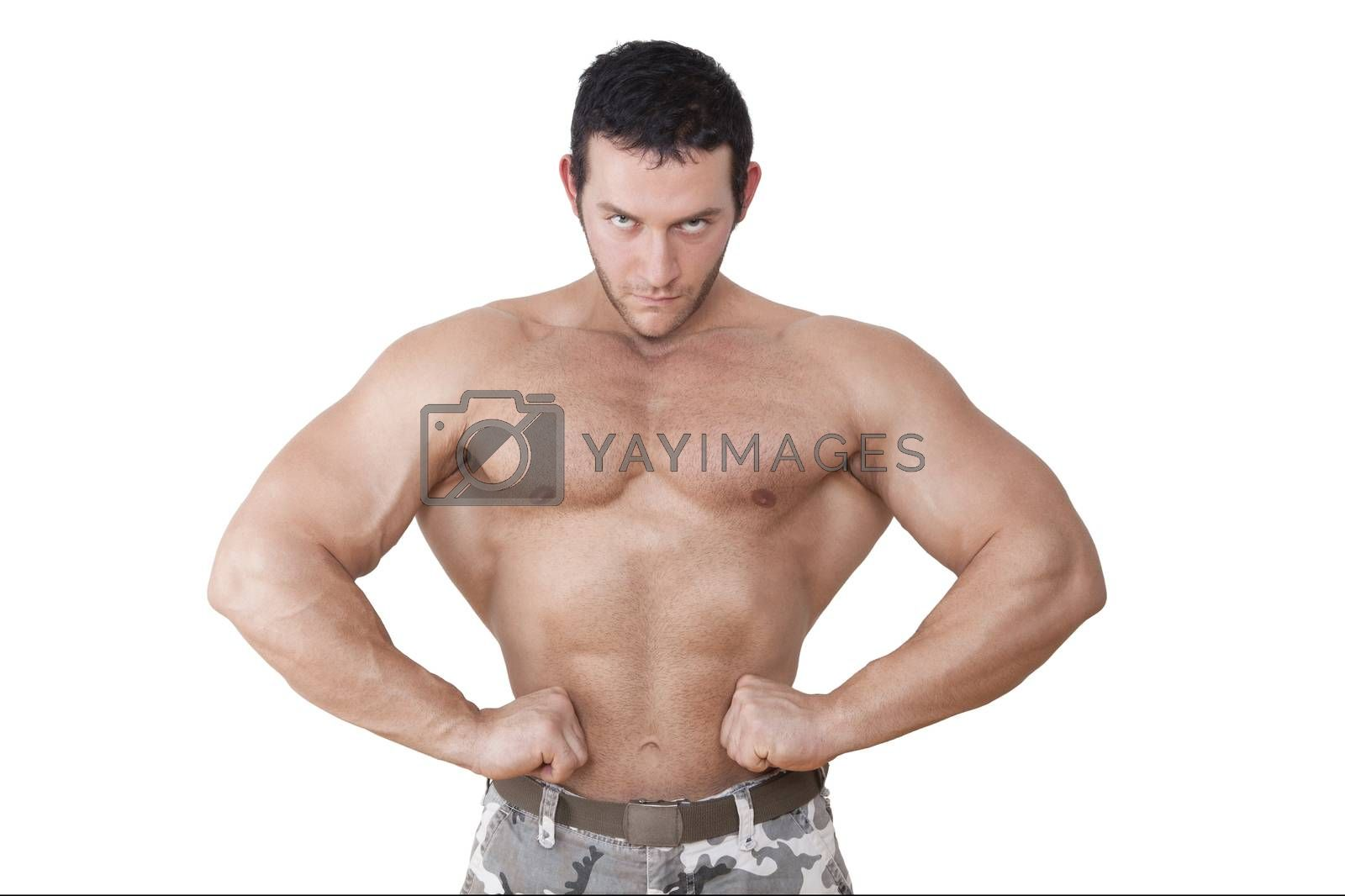Extreme fitness. Young caucasian topless bodybuilder posing isolated on white background. Sport, health and fitness.