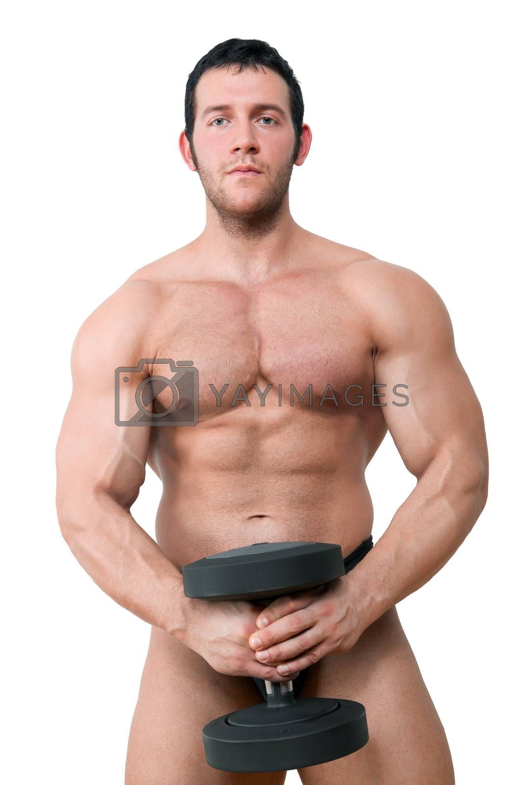 Sexy shirtless bodybuilder holding black dumbbell isolated on white background. Fitness, sport and health concept.