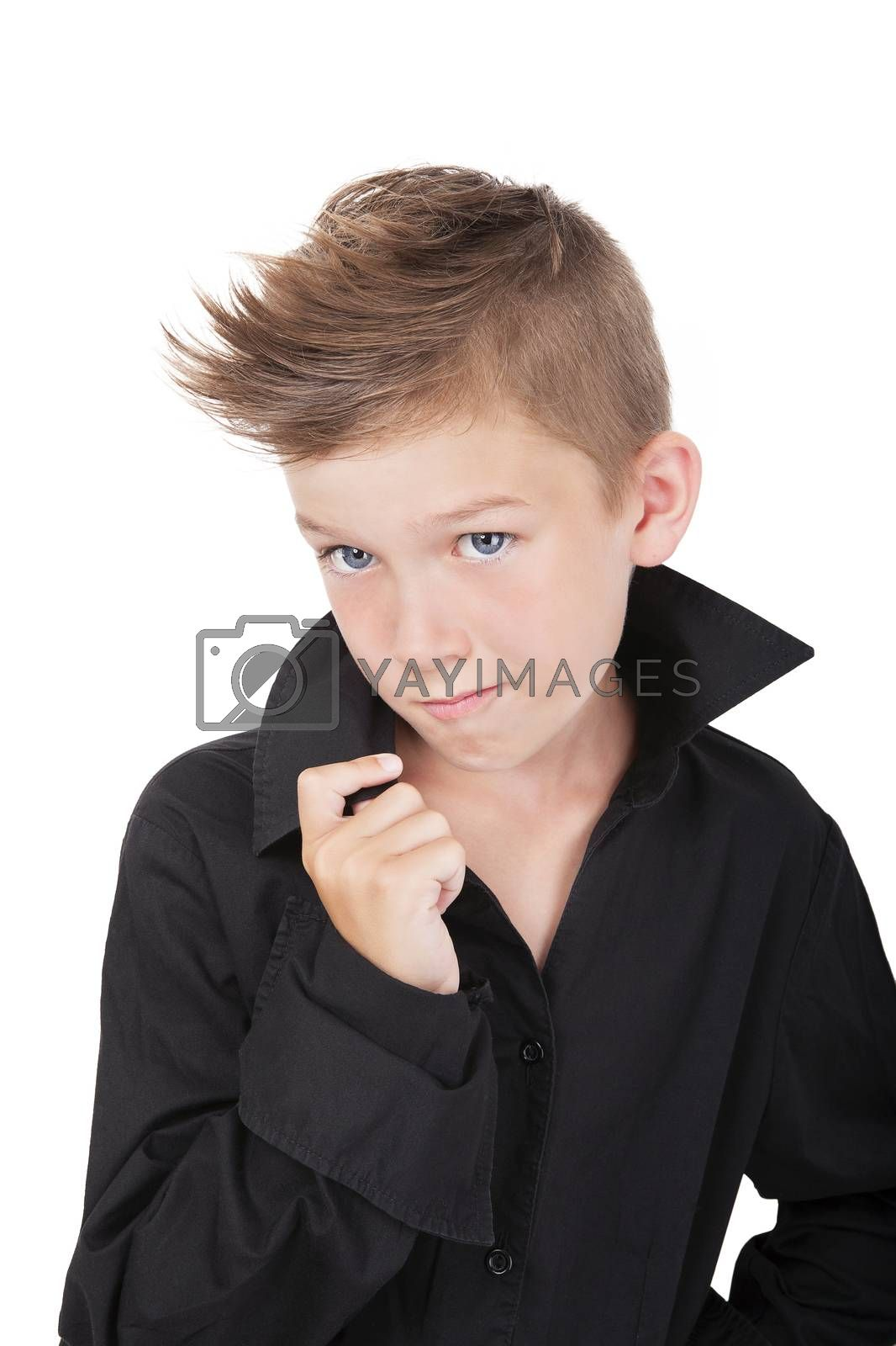 Cool little kid with macho pose isolated on white background.