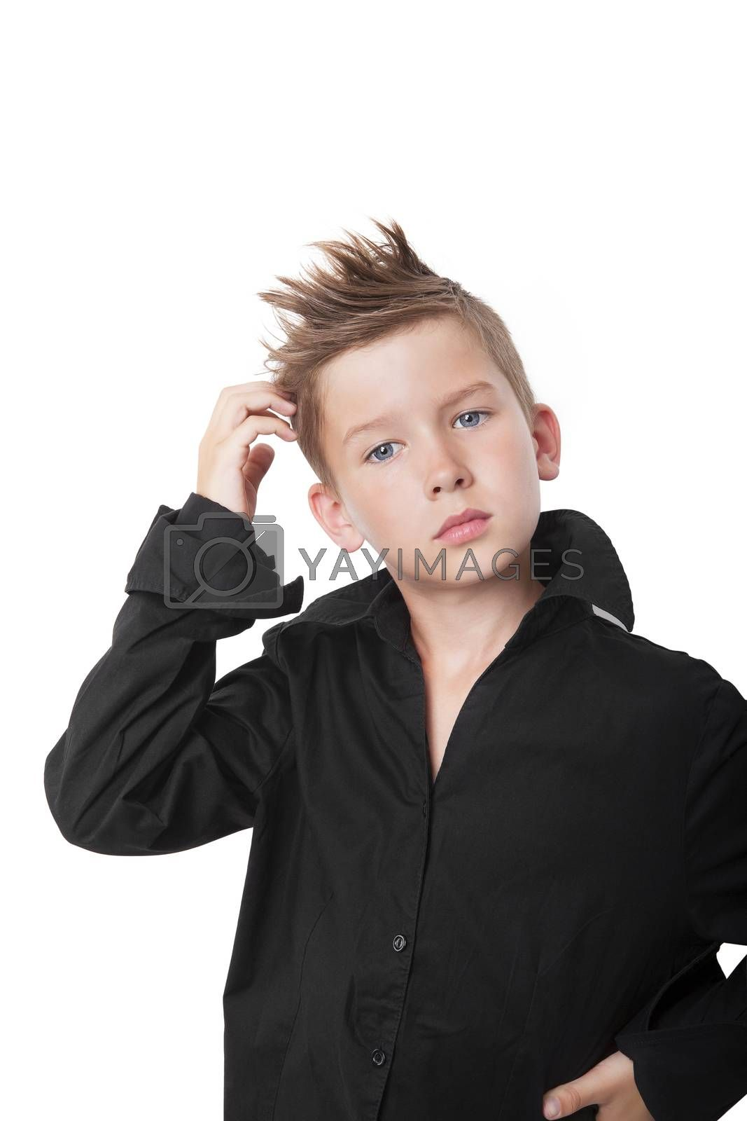 Cute boy touching his head and thinking isolated on white background.