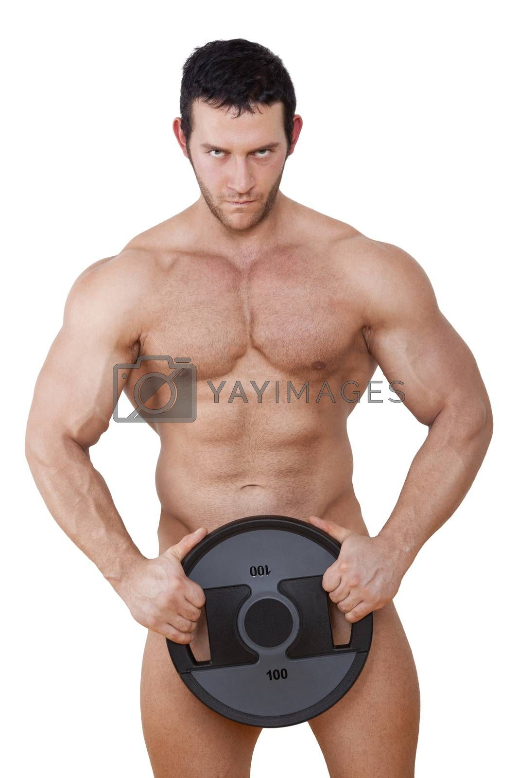 Sexy naked muscular model holding weight isolated on white background with clipping path. Sport and Fitness Background.