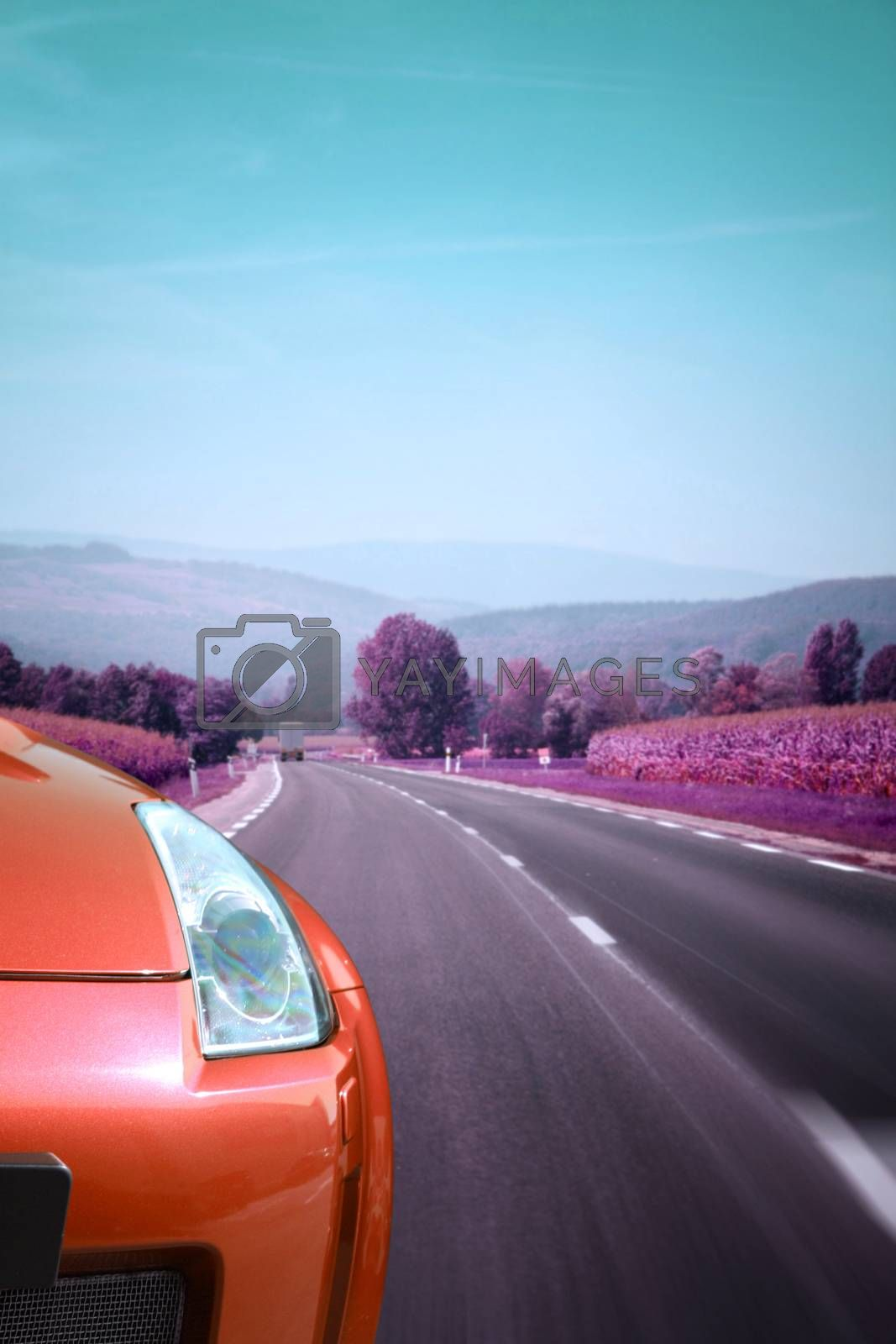 Car on the road by arosoft