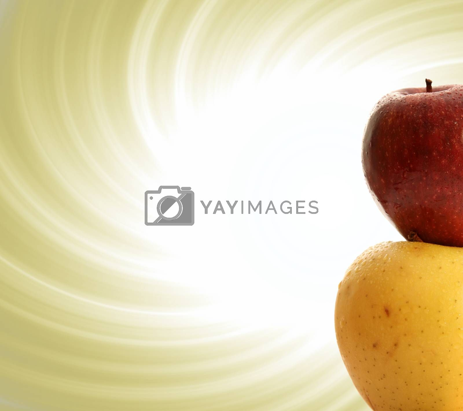 Macro image of yellow and red apple