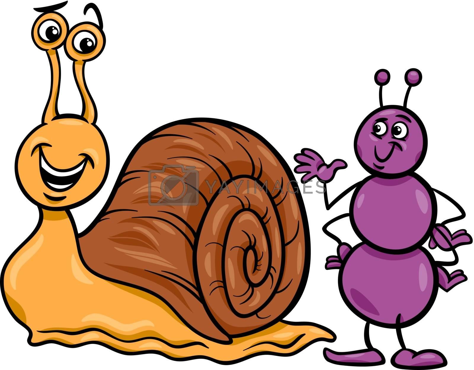 Royalty free image of ant and snail cartoon illustration by izakowski