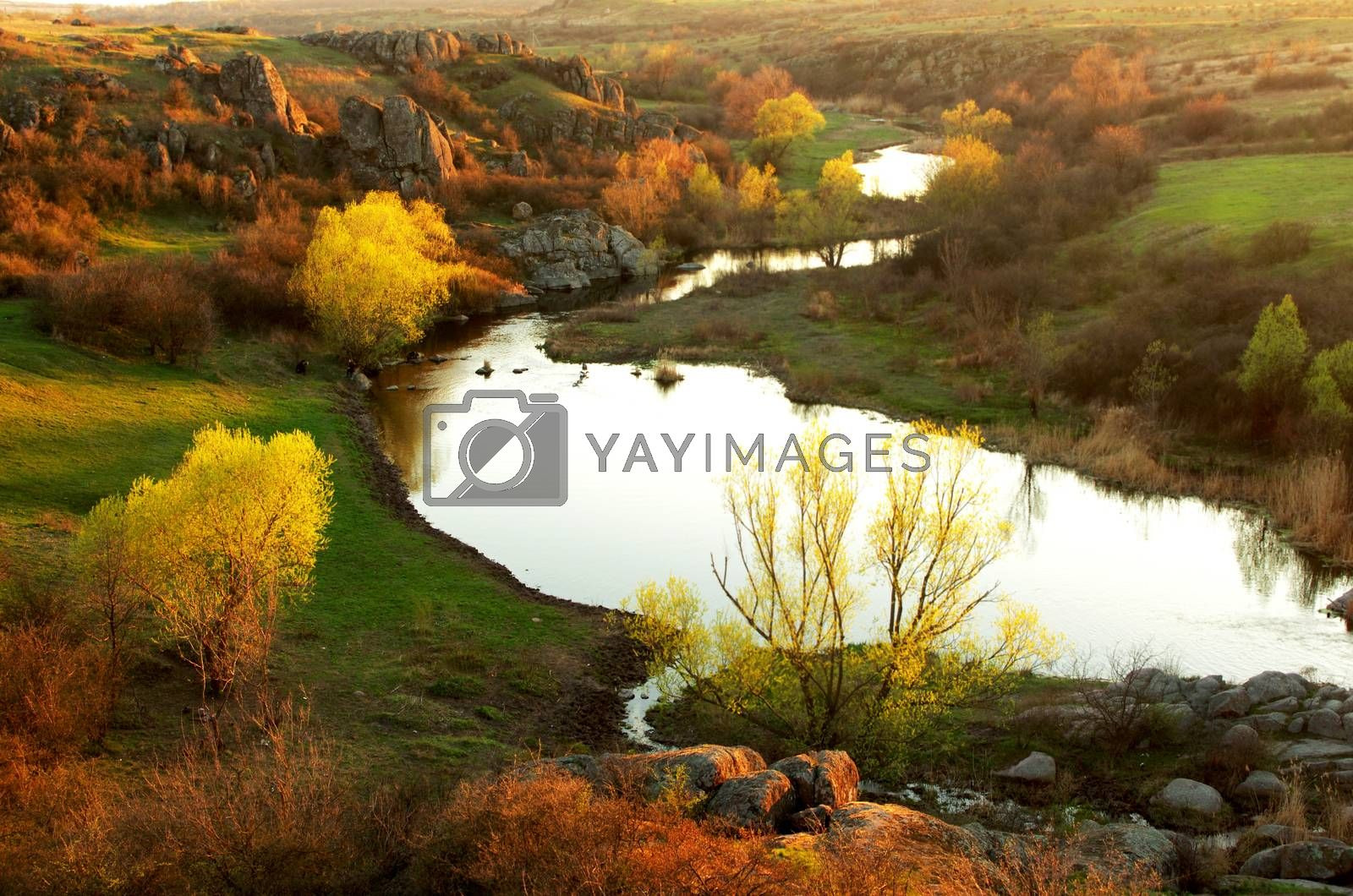 Royalty free image of Sunset on the river Mertvovod by dolnikow