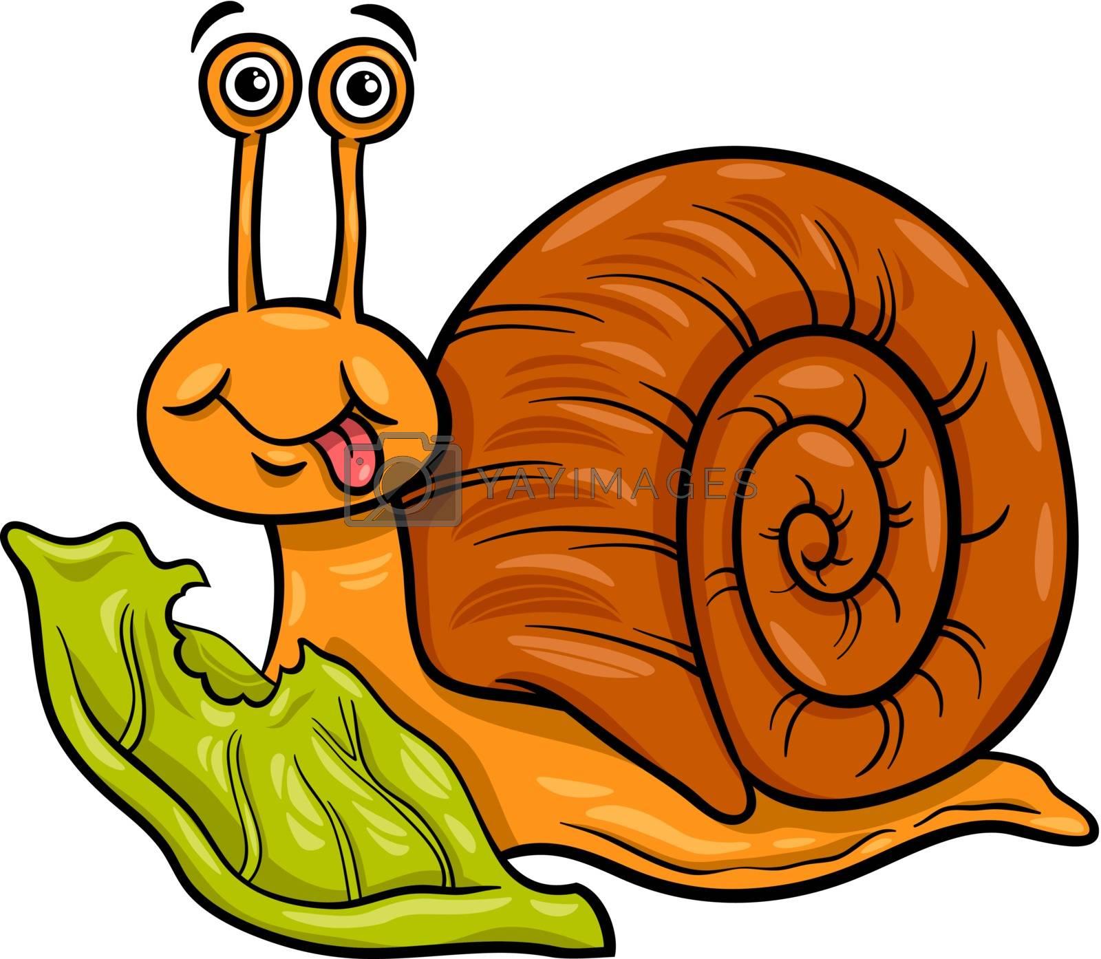 Royalty free image of snail and lettuce cartoon illustration by izakowski