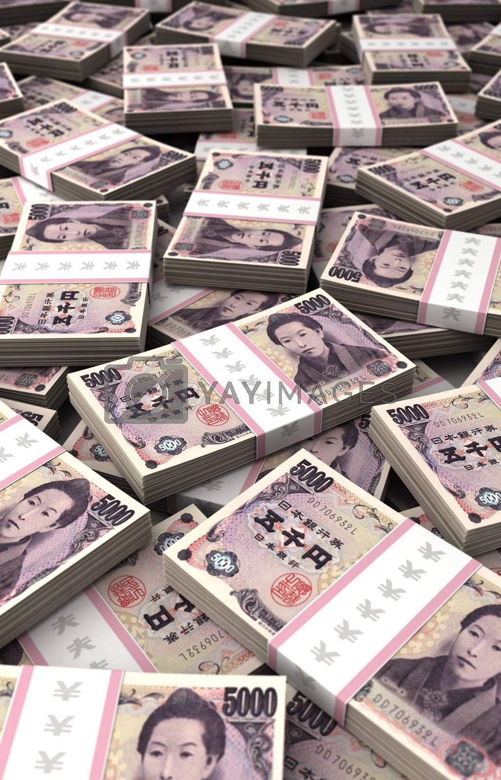 Royalty free image of Stack of Japanese Yen by selensergen