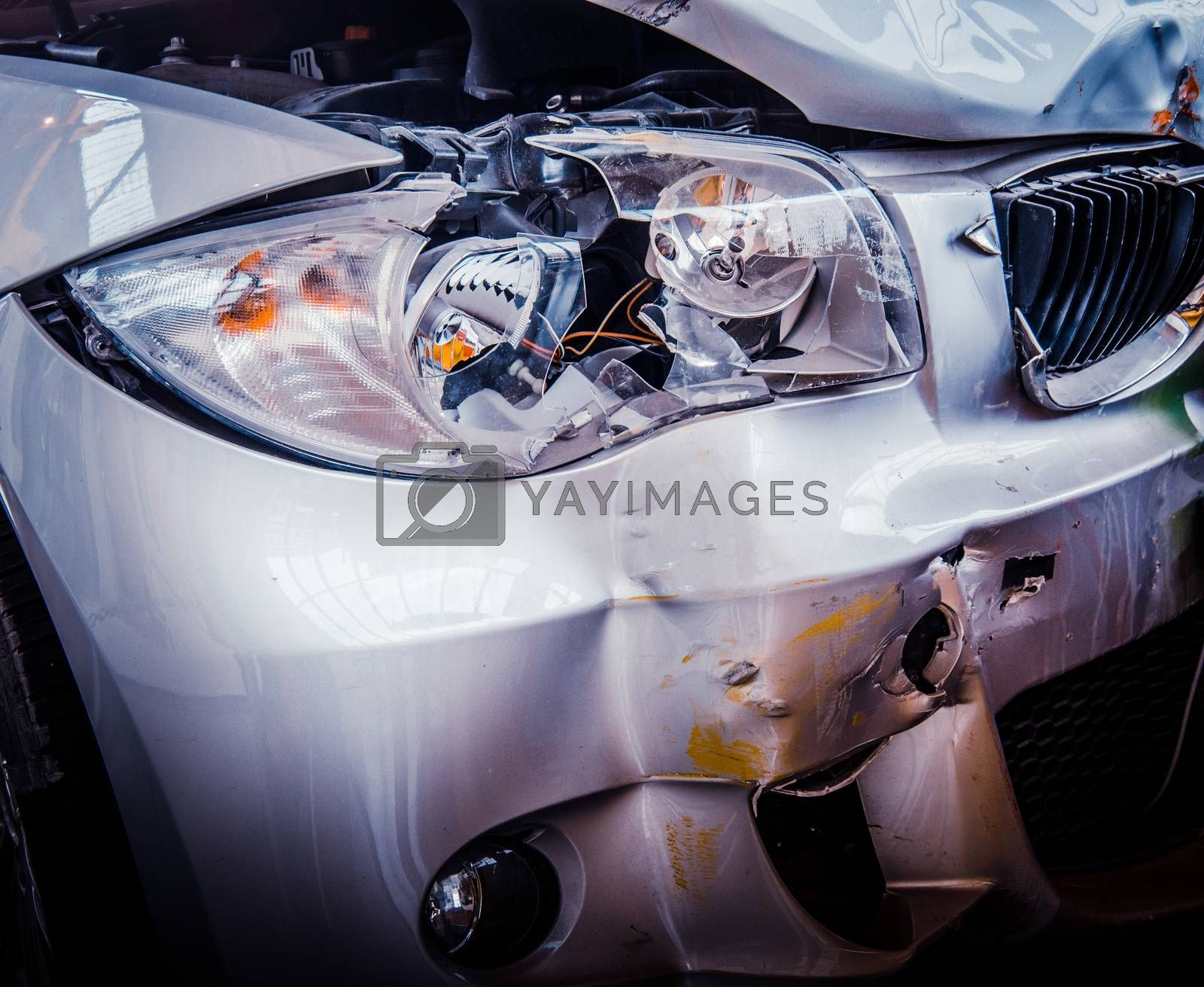 Royalty free image of Smashed Luxury Car by mrdoomits