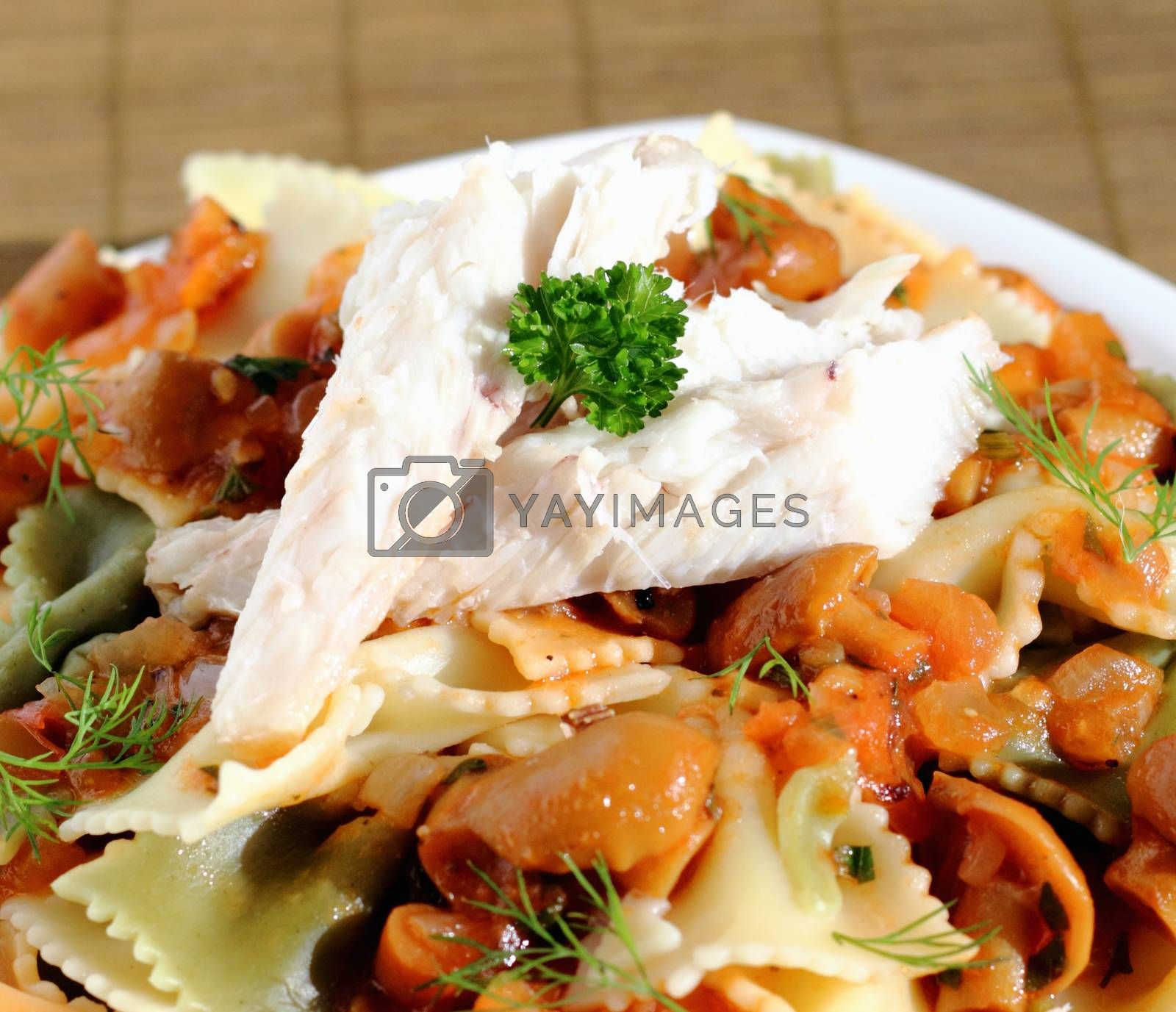 Royalty free image of Pasta with mushroom sauce and fish by openas