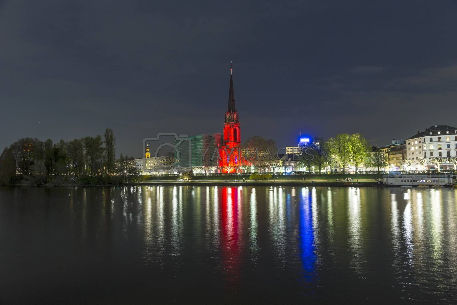 Royalty free image of Illuminated  buildings and skyline at night in Frankfurt by meinzahn