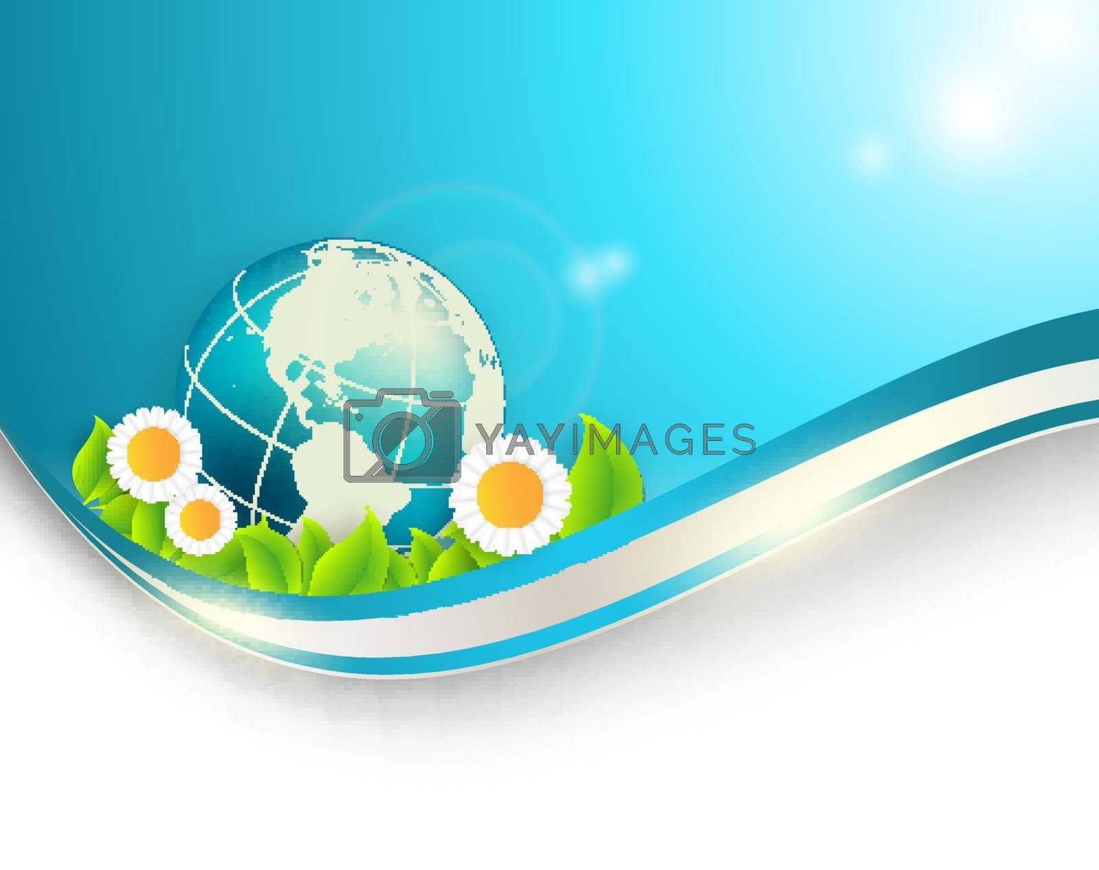Royalty free image of floral environmental vector frame with globe by marivlada