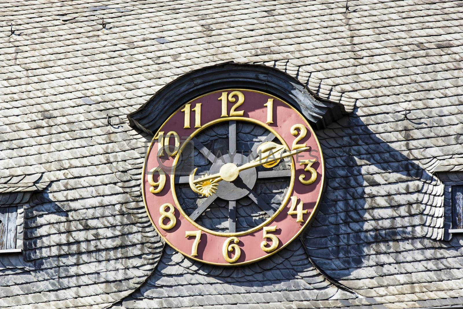 Royalty free image of old exterior clock by meinzahn
