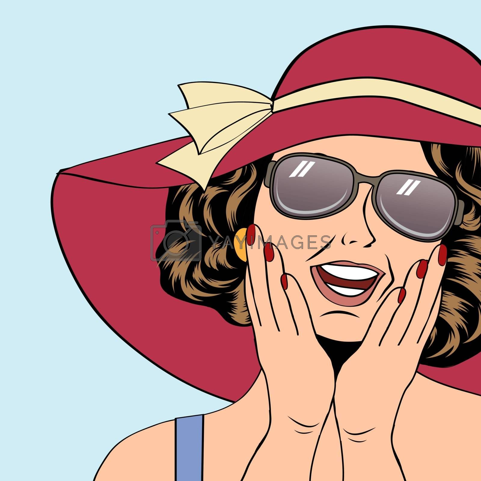 Royalty free image of popart retro woman with sun hat in comics style, summer illustra by balasoiu
