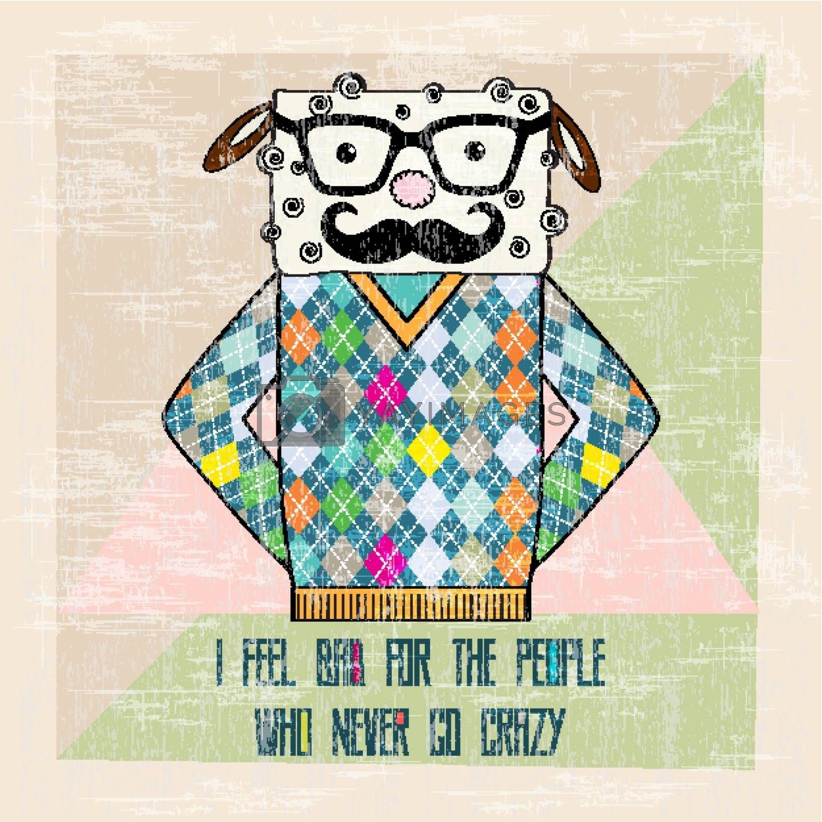 Royalty free image of cool sheep hipster, hand draw illustration by balasoiu