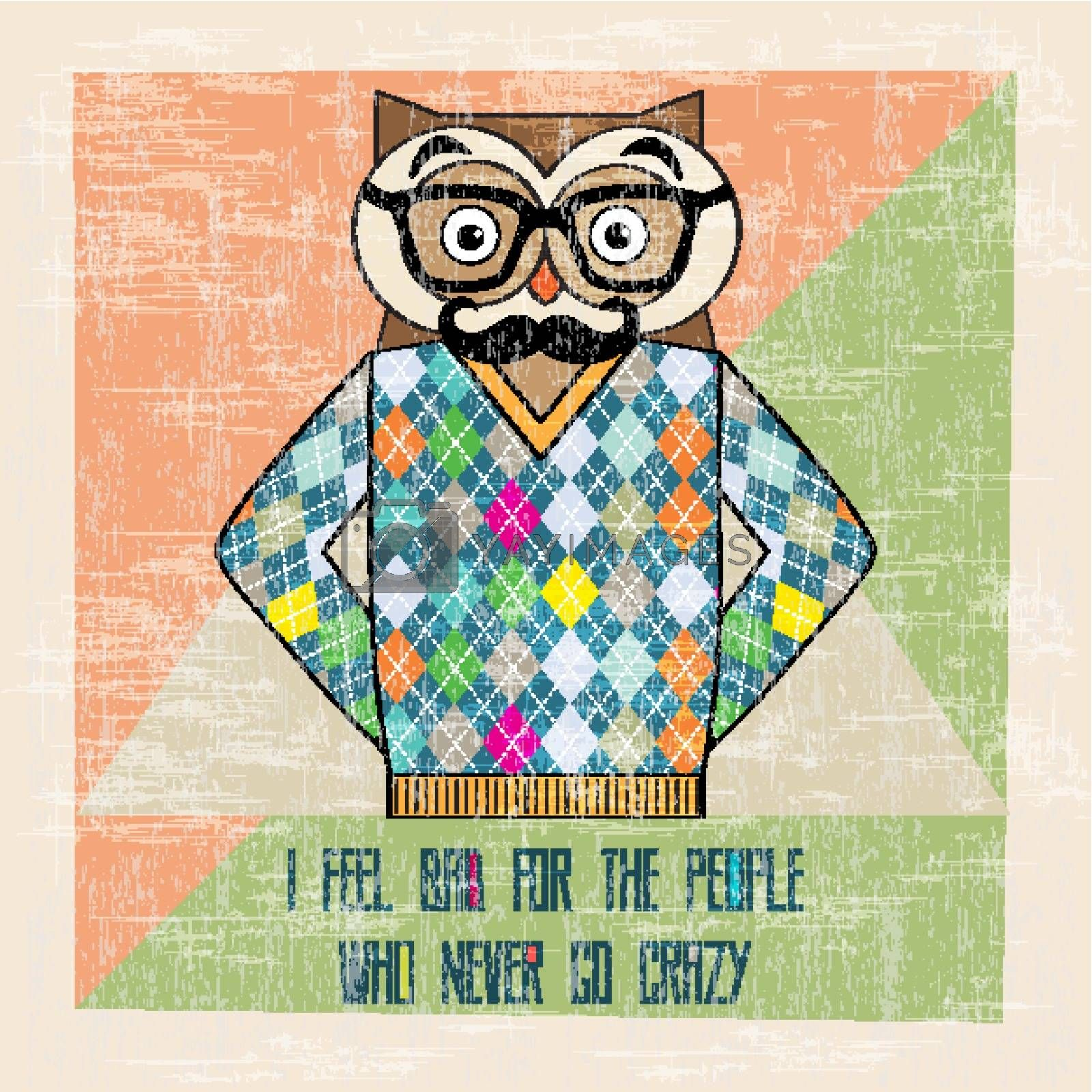 Royalty free image of cool owl hipster, hand draw illustration by balasoiu