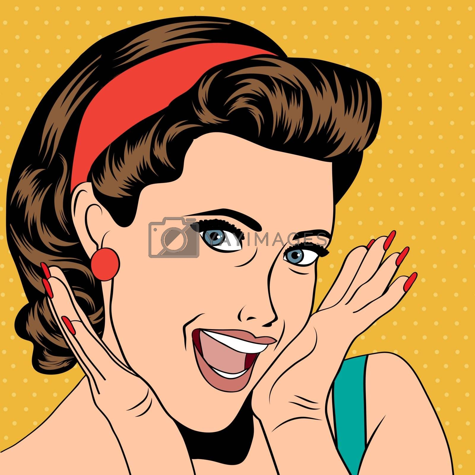 Royalty free image of popart retro woman in comics style by balasoiu