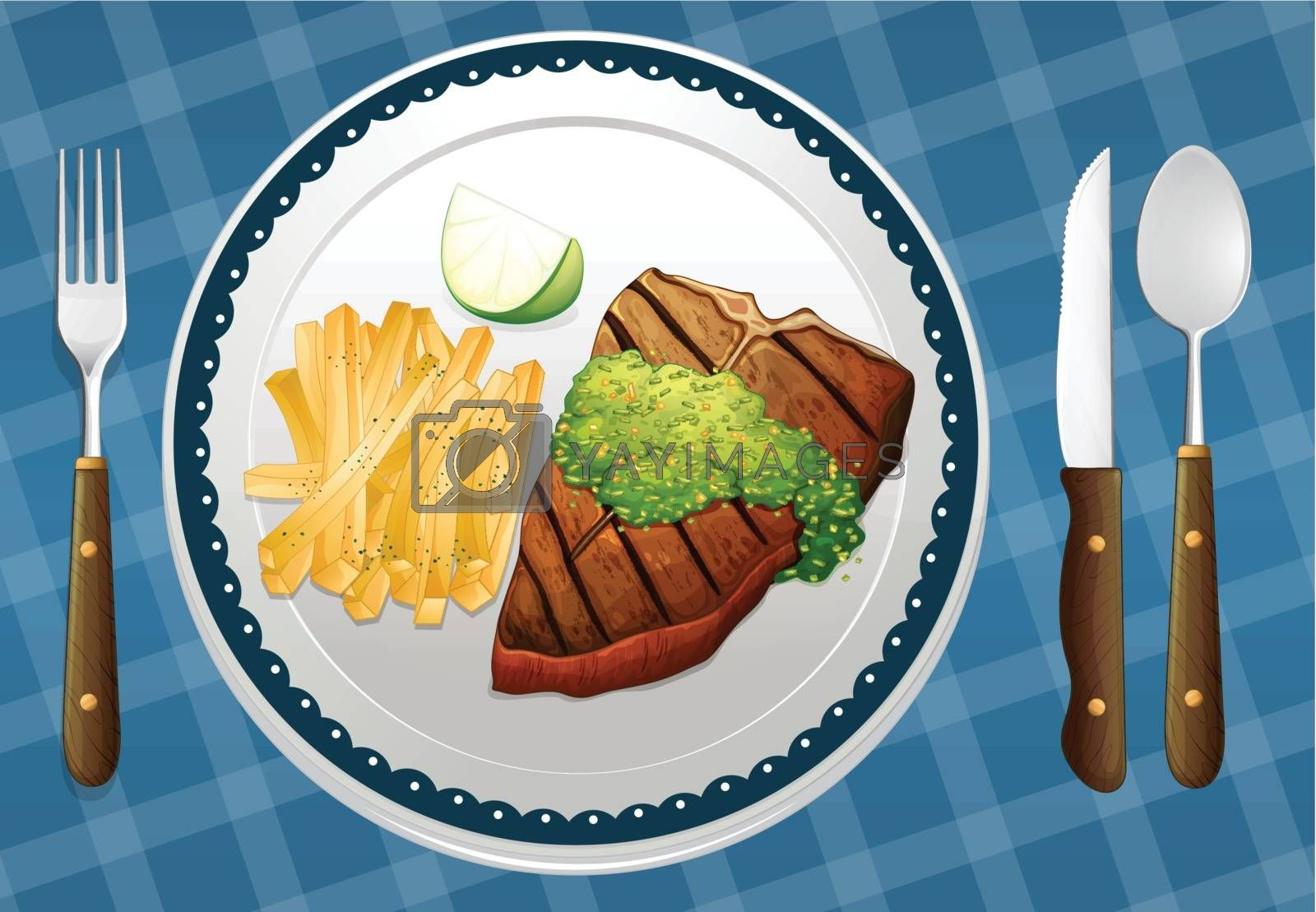 illustration of food on a blue placemat