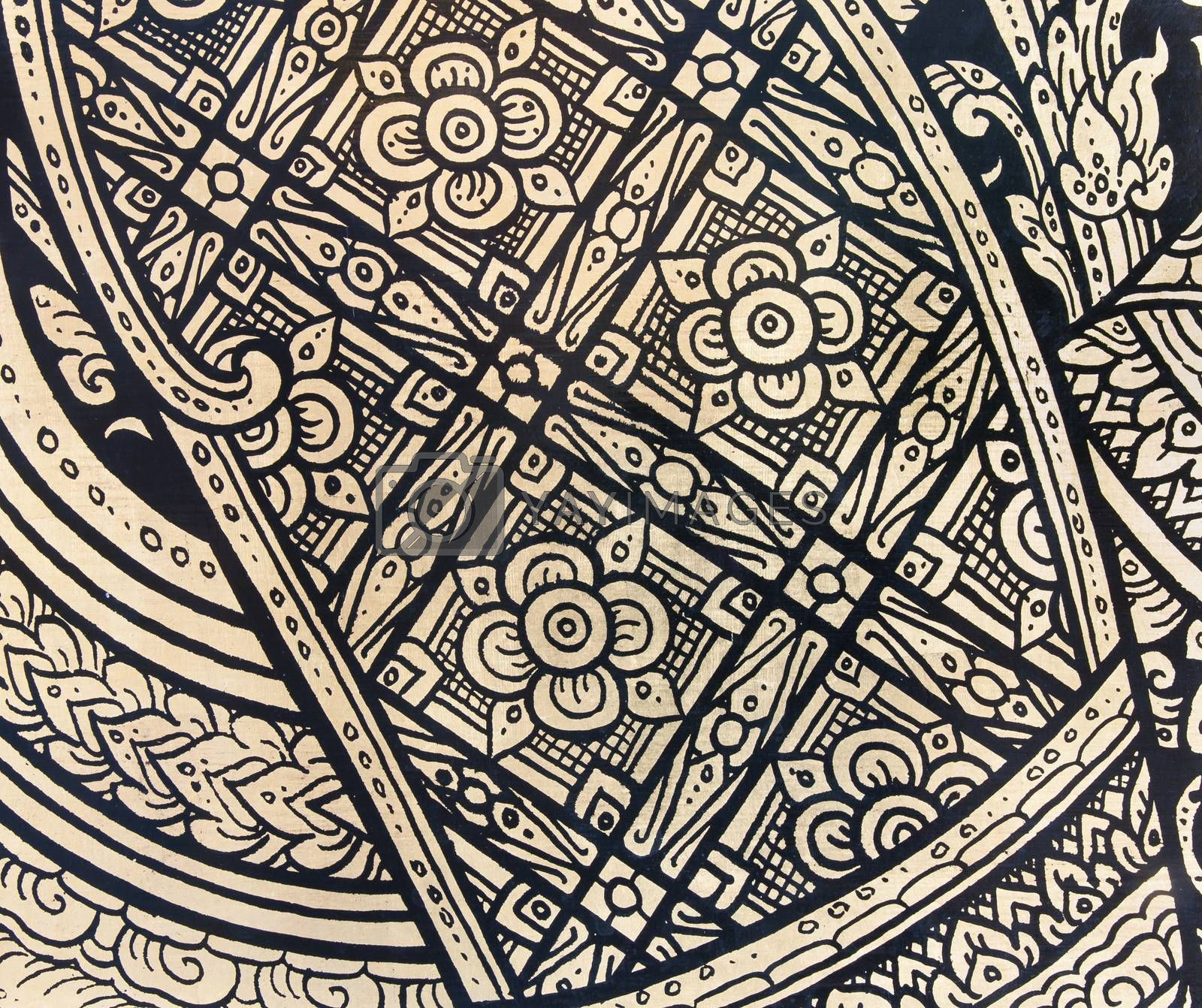 Royalty free image of pattern in traditional Thai style art painting by Sorapop