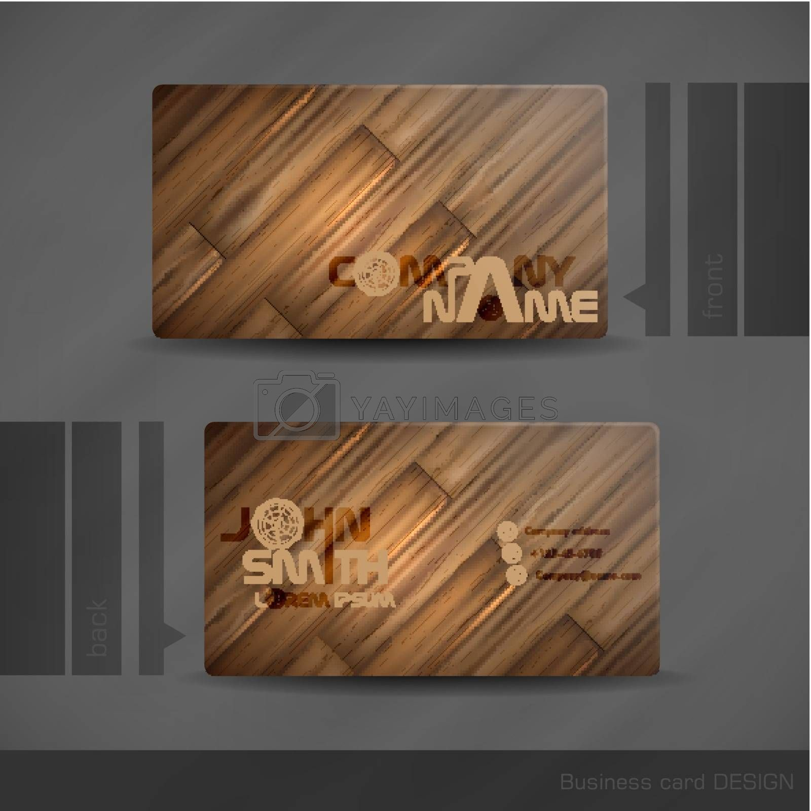 Royalty free image of Business Card Design With Wood Texture. by HelenStock