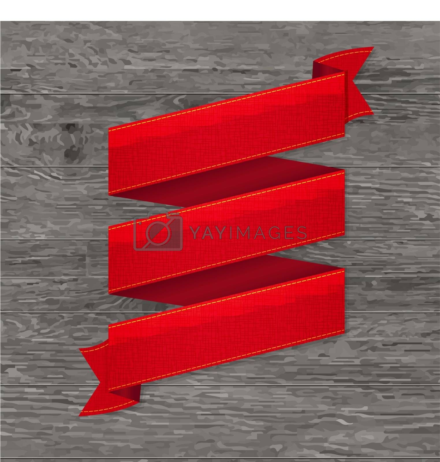 Royalty free image of Grey Wood Board With Red Ribbon by cammep