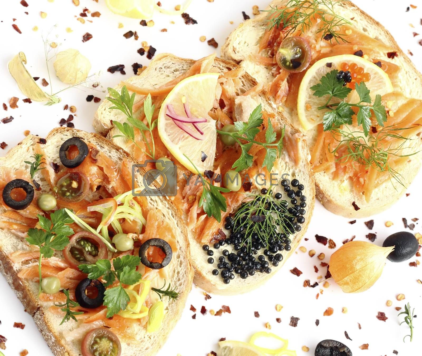 Royalty free image of Sandwiches with smoked salmon by openas