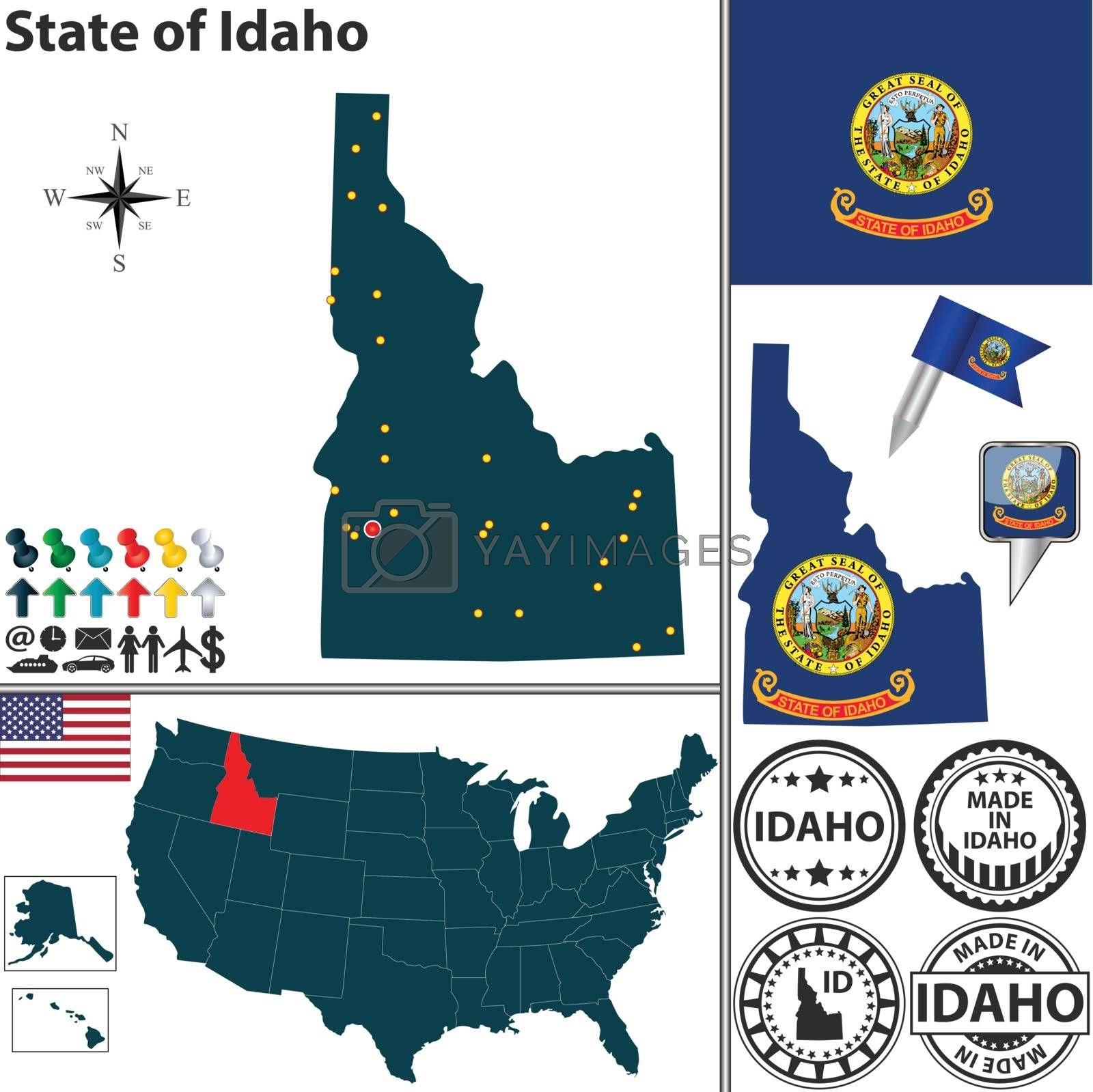 Royalty free image of Map of state Idaho, USA by sateda