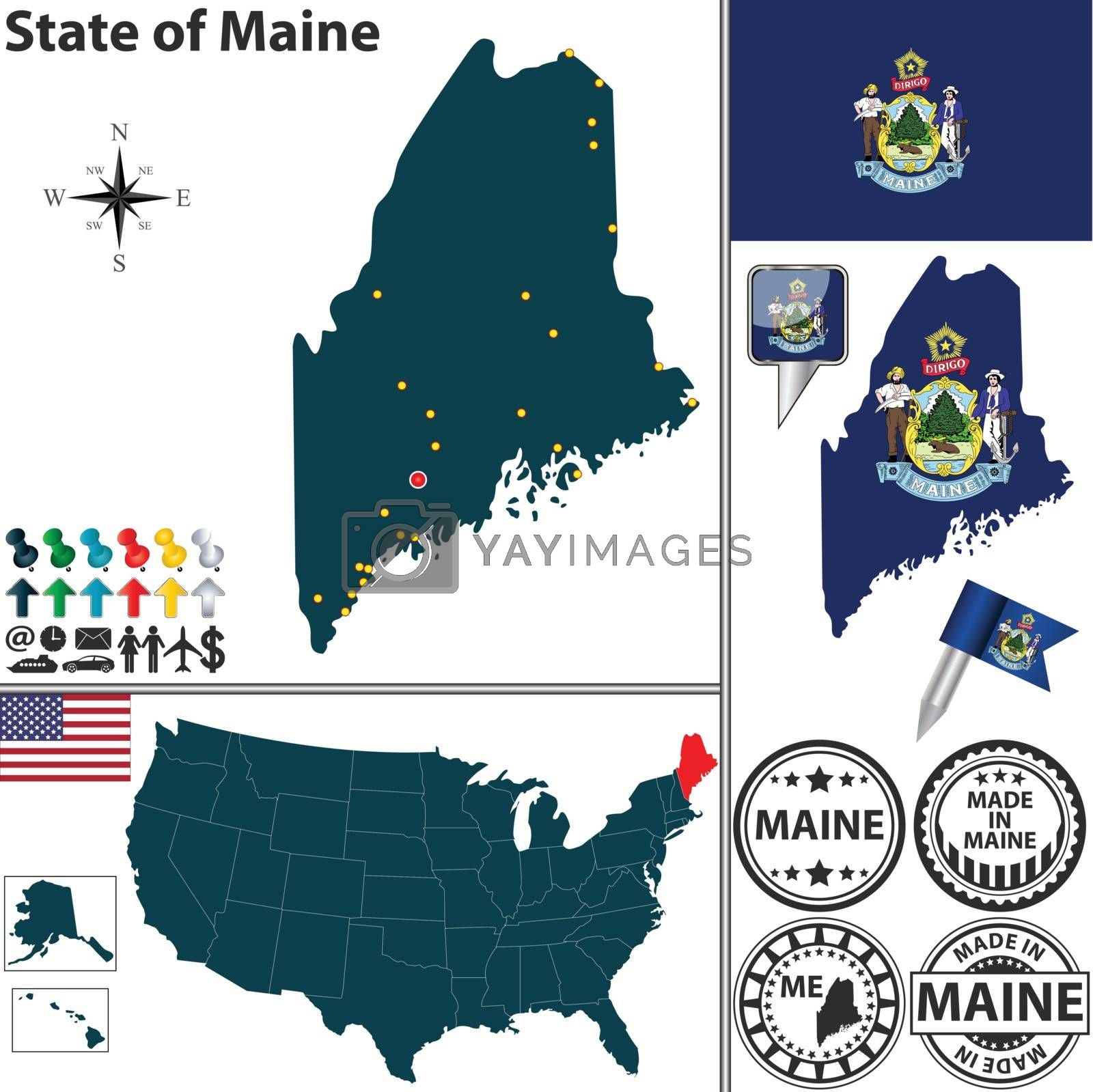 Royalty free image of Map of state Maine, USA by sateda