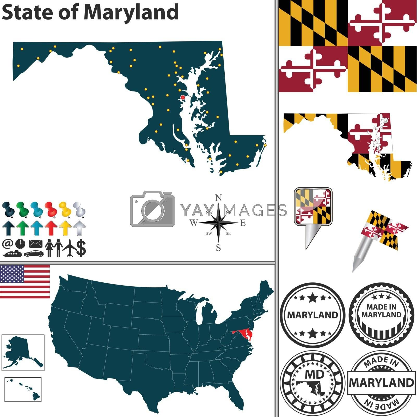 Royalty free image of Map of state Maryland, USA by sateda