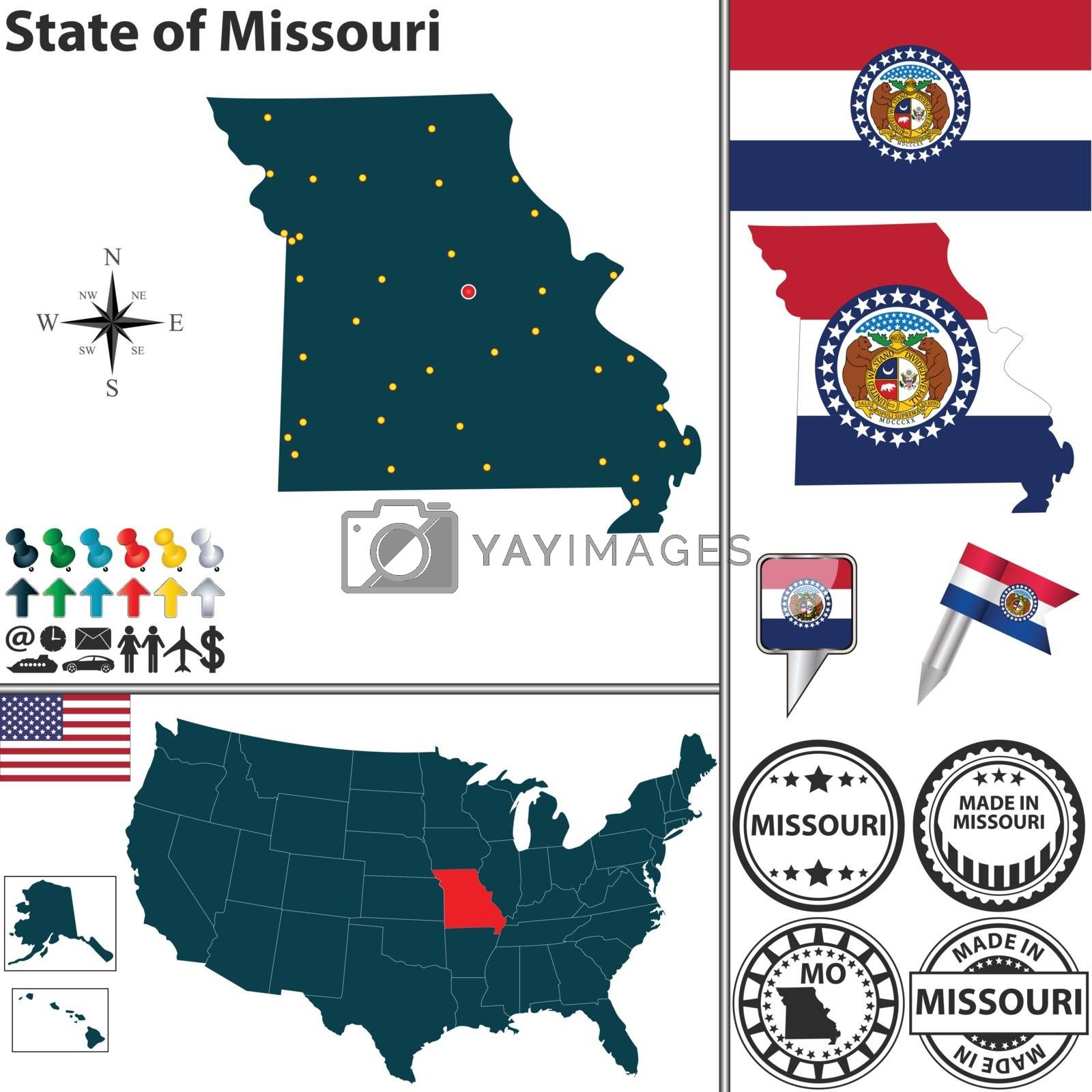Royalty free image of Map of state Missouri, USA by sateda