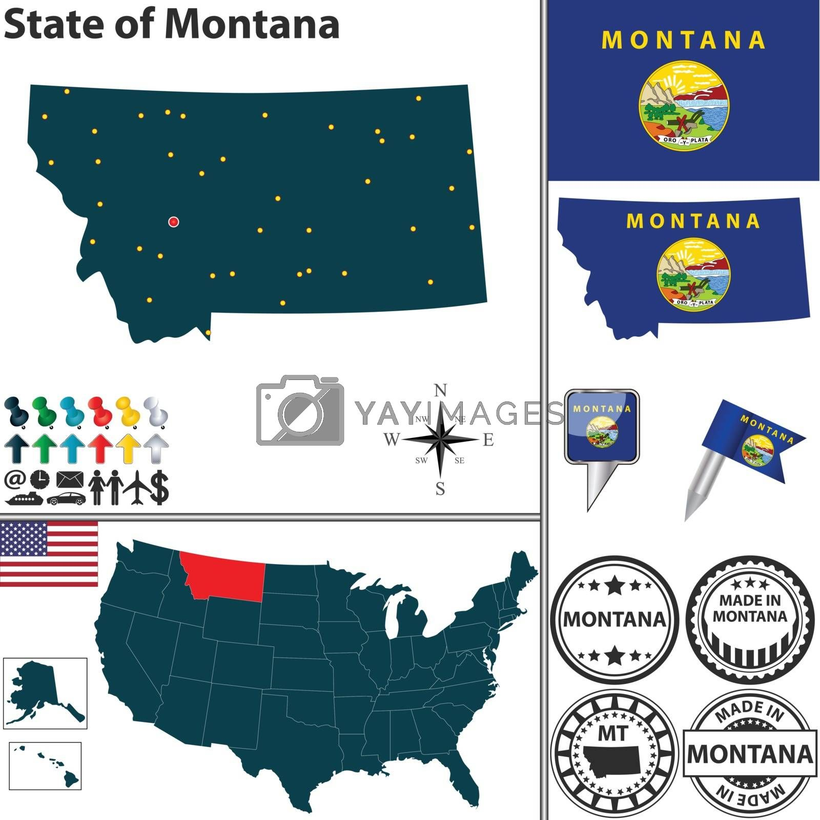 Royalty free image of Map of state Montana, USA by sateda