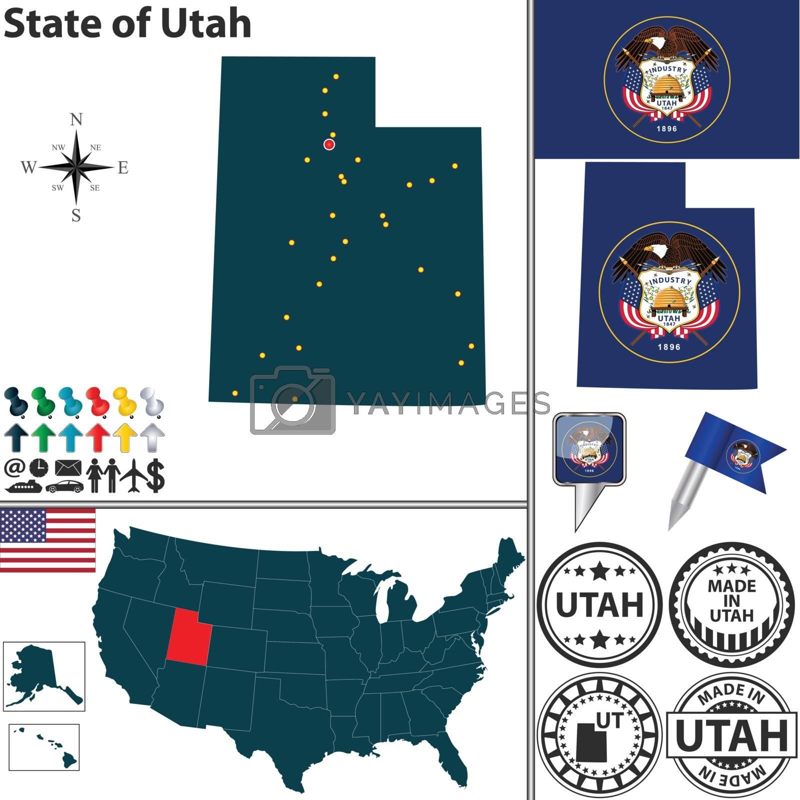 Royalty free image of Map of state Utah, USA by sateda