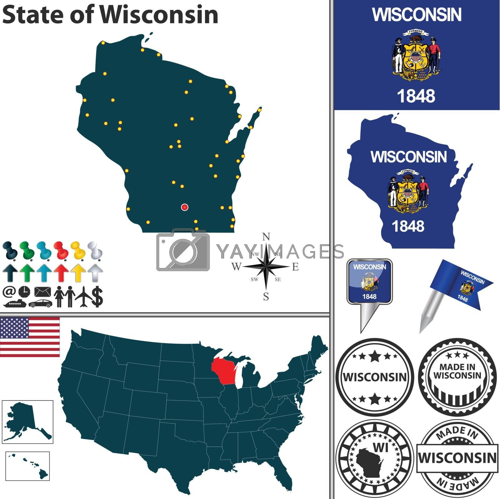 Royalty free image of Map of state Wisconsin, USA by sateda