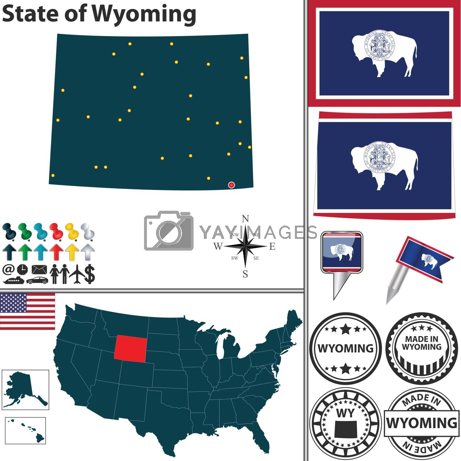 Royalty free image of Map of state Wyoming, USA by sateda