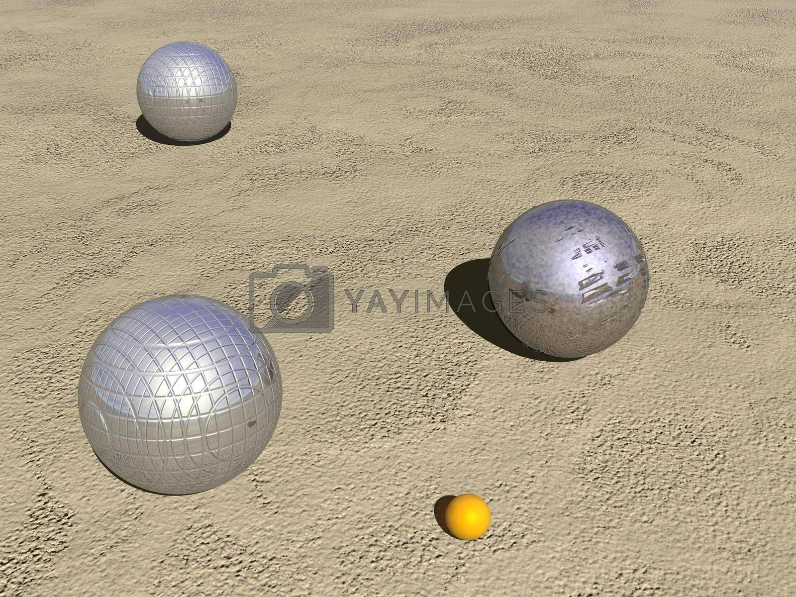 Royalty free image of Petanque game balls - 3D render by Elenaphotos21