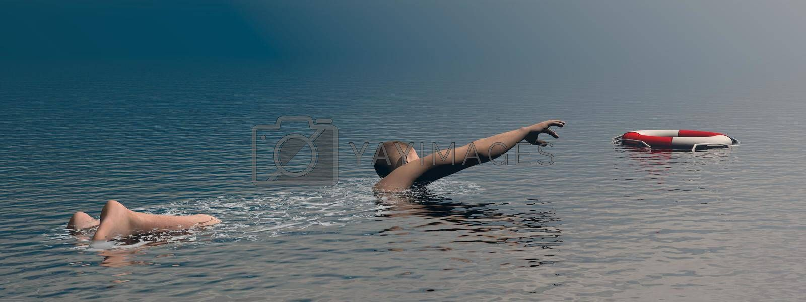 Royalty free image of Man trying to survive - 3D render by Elenaphotos21