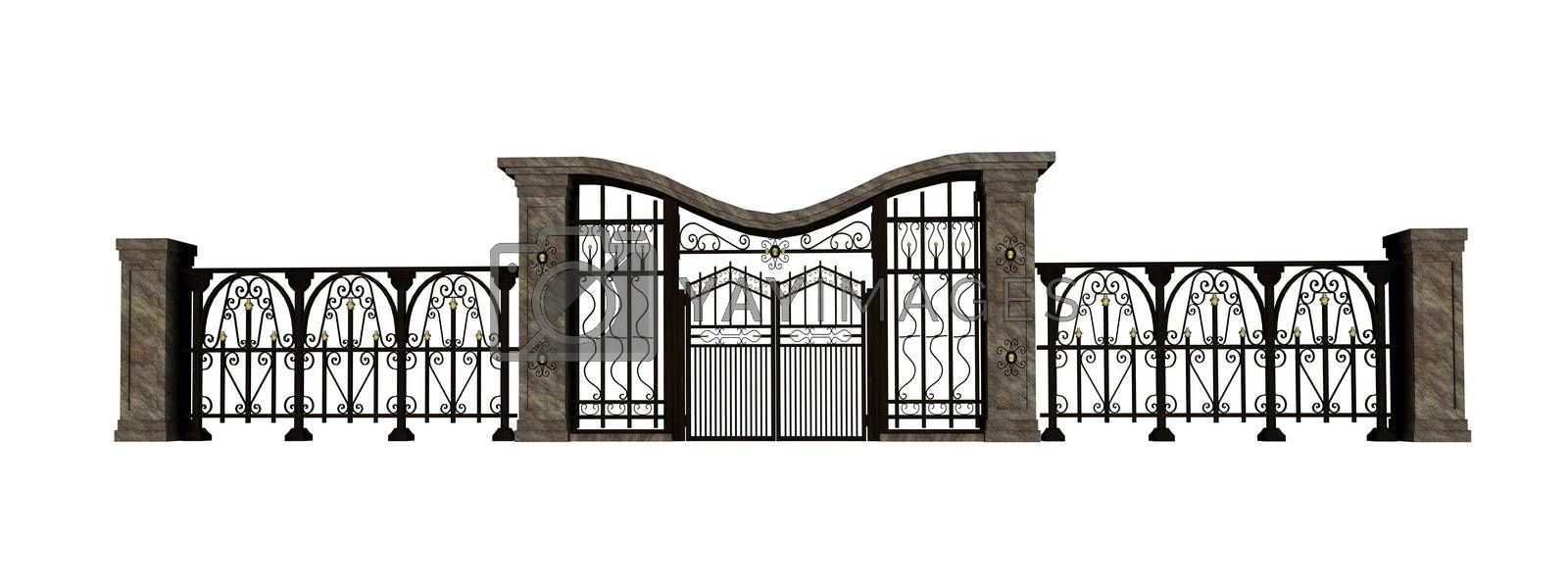 Royalty free image of Iron gate and fence by Elenaphotos21