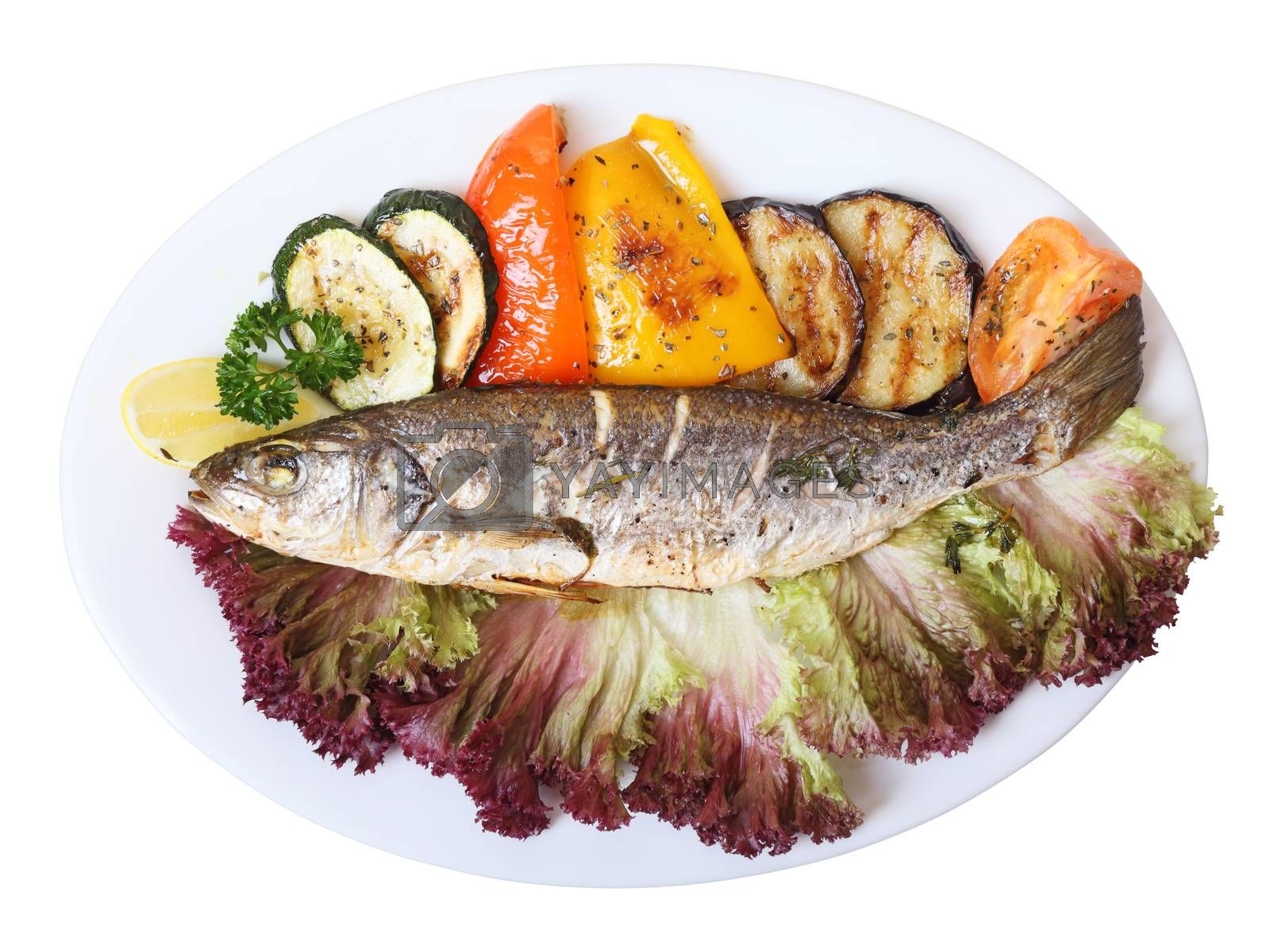 Royalty free image of seabass with vegetables by whiterabbit