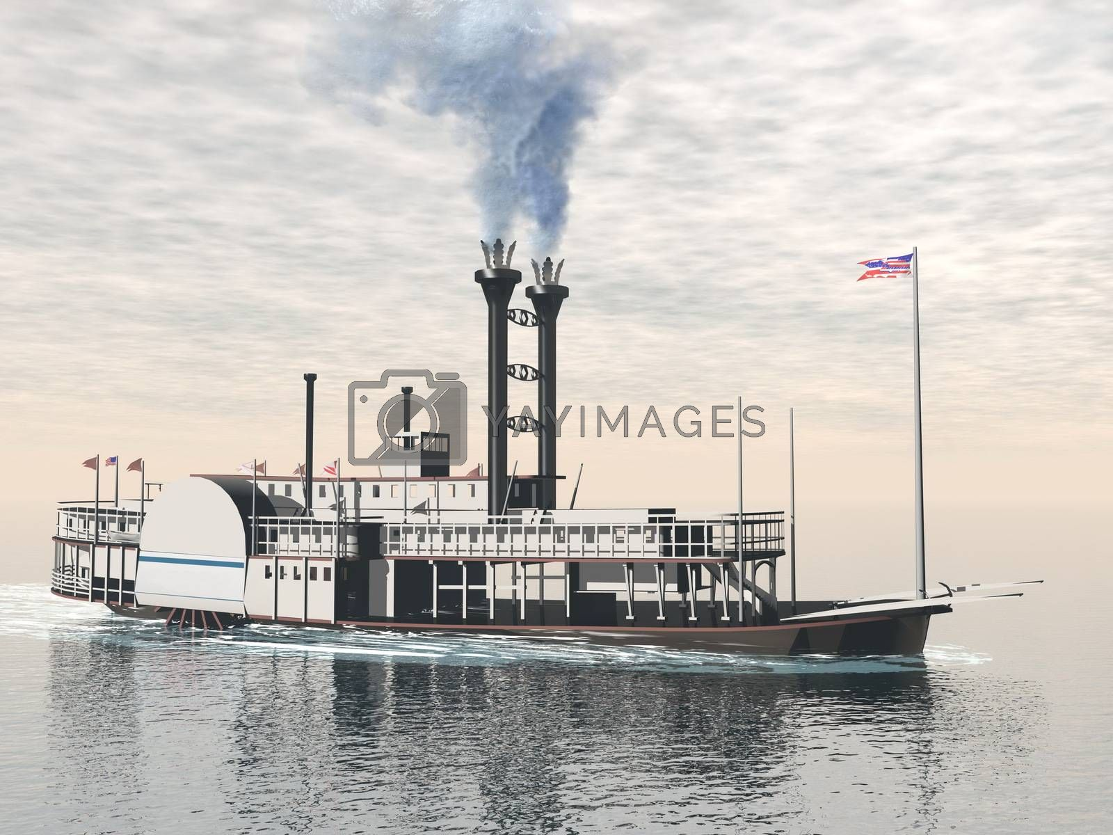 Royalty free image of Old riverboat - 3D render by Elenaphotos21