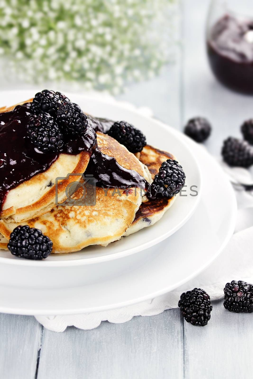 Royalty free image of Pancakes and Fresh Berries by StephanieFrey