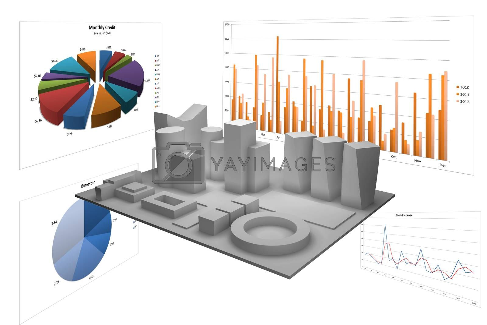 Royalty free image of Abstract illustration with different graphs by enrico.lapponi