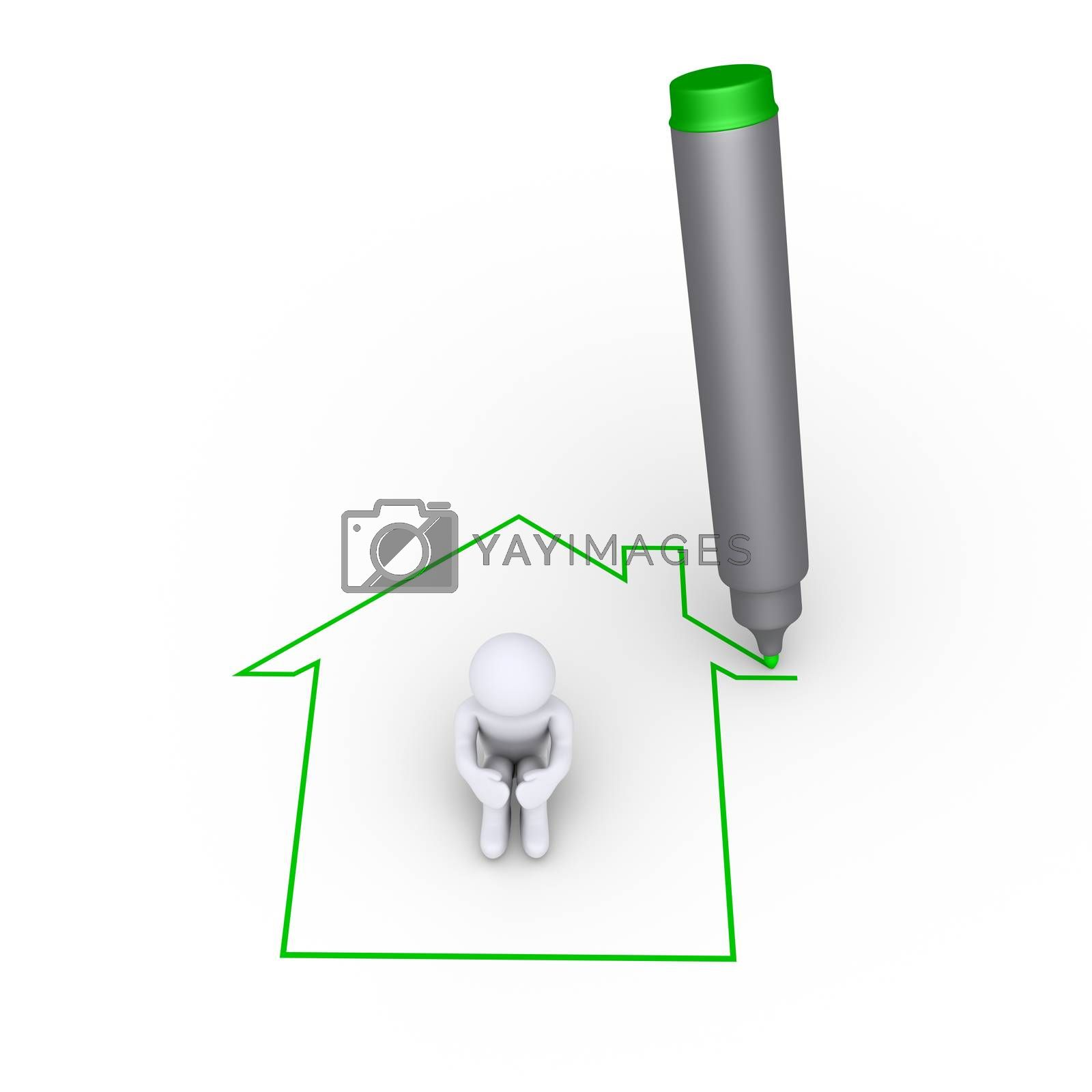 Royalty free image of Drawing a house around a person by 6kor3dos