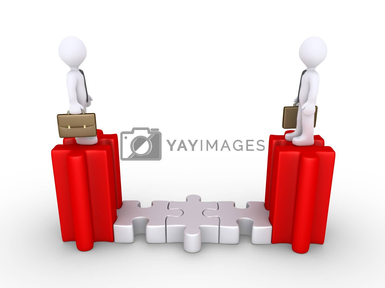 Royalty free image of Businessmen connected with puzzle pieces by 6kor3dos
