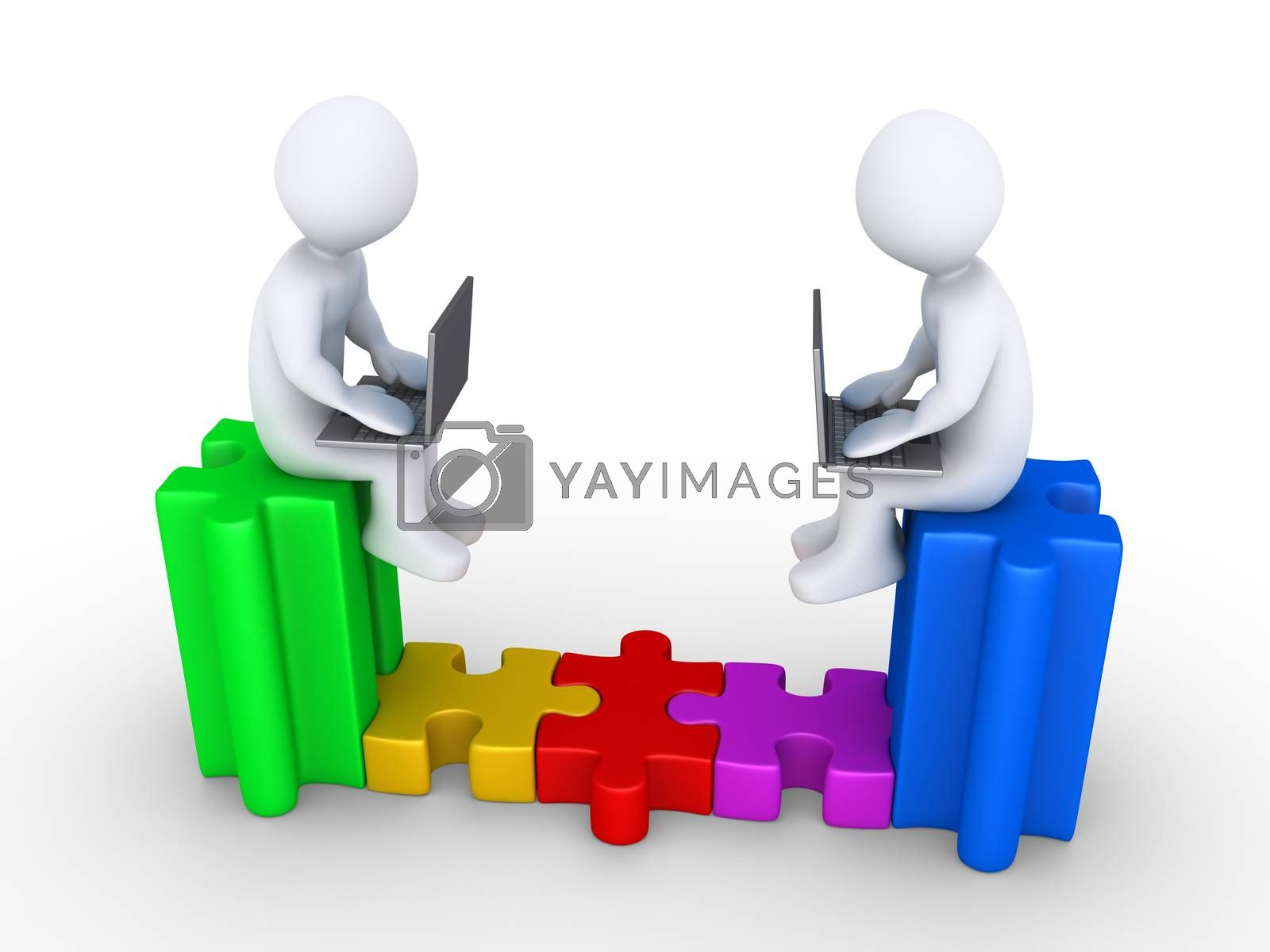 Two people with laptops sitting on puzzle pieces, are connected