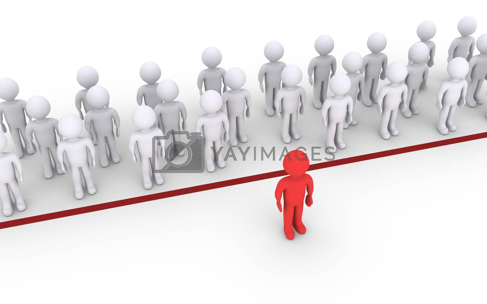 Royalty free image of Person dares to cross the line by 6kor3dos
