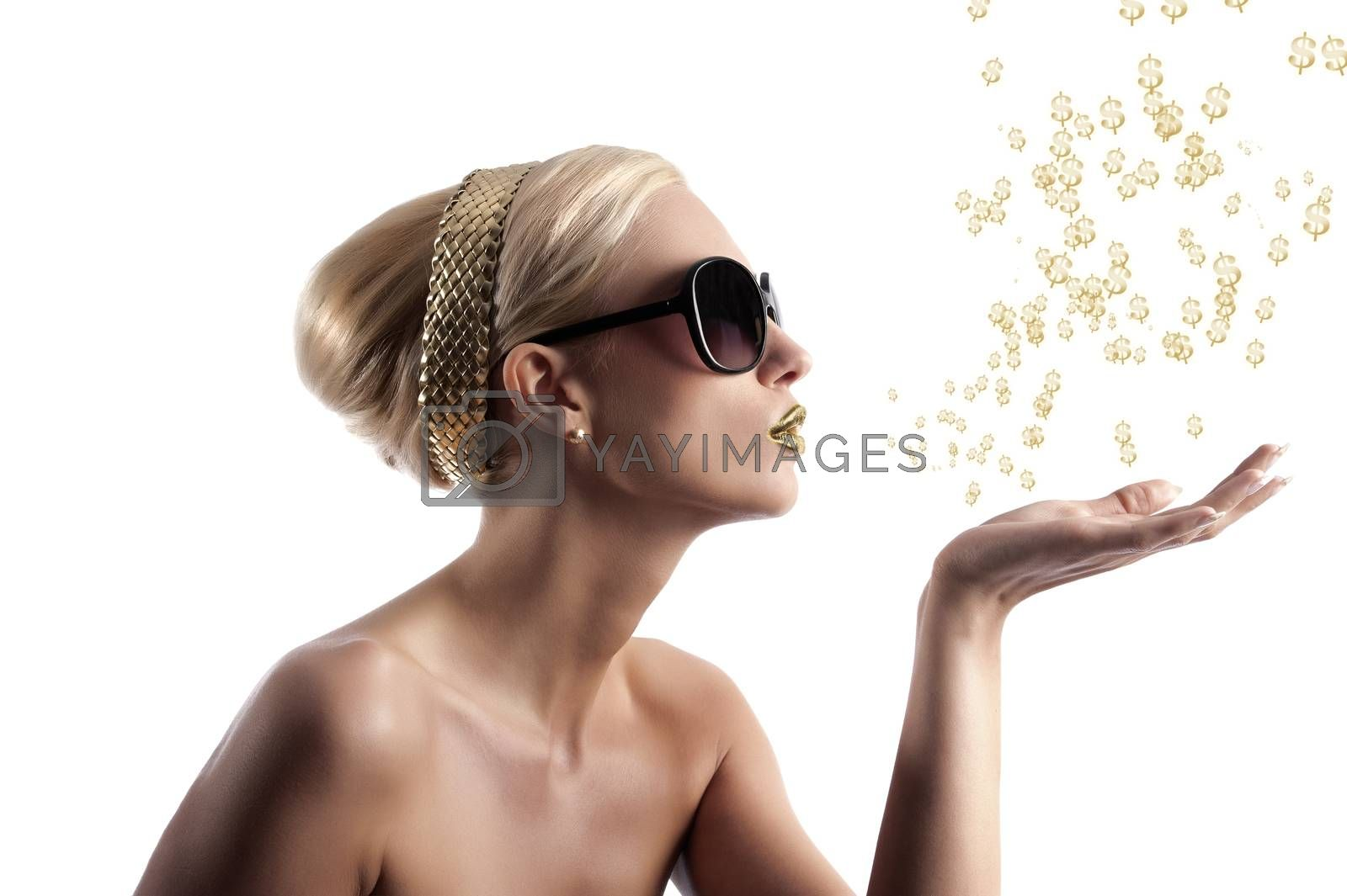 Royalty free image of golden lips girl blowing by fotoCD