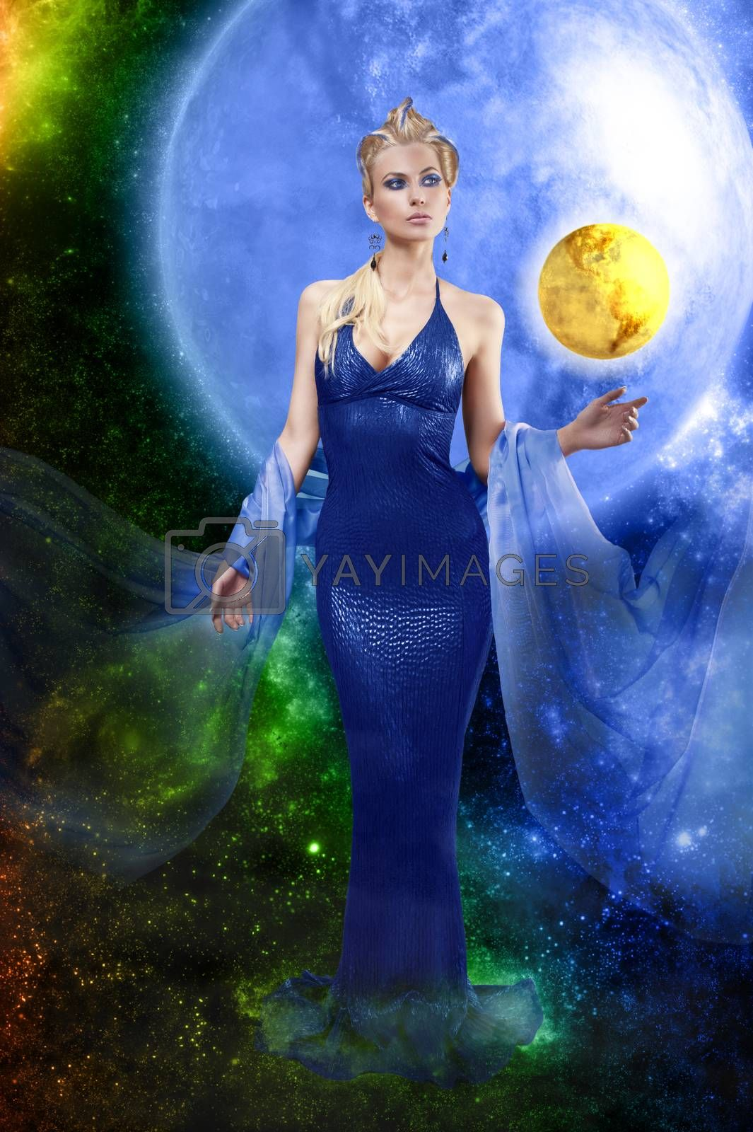 Royalty free image of E.T. lady with golden planet by fotoCD