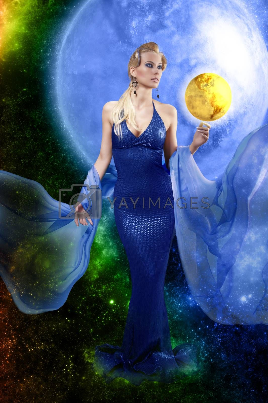 Royalty free image of E.T. woman with golden planet by fotoCD