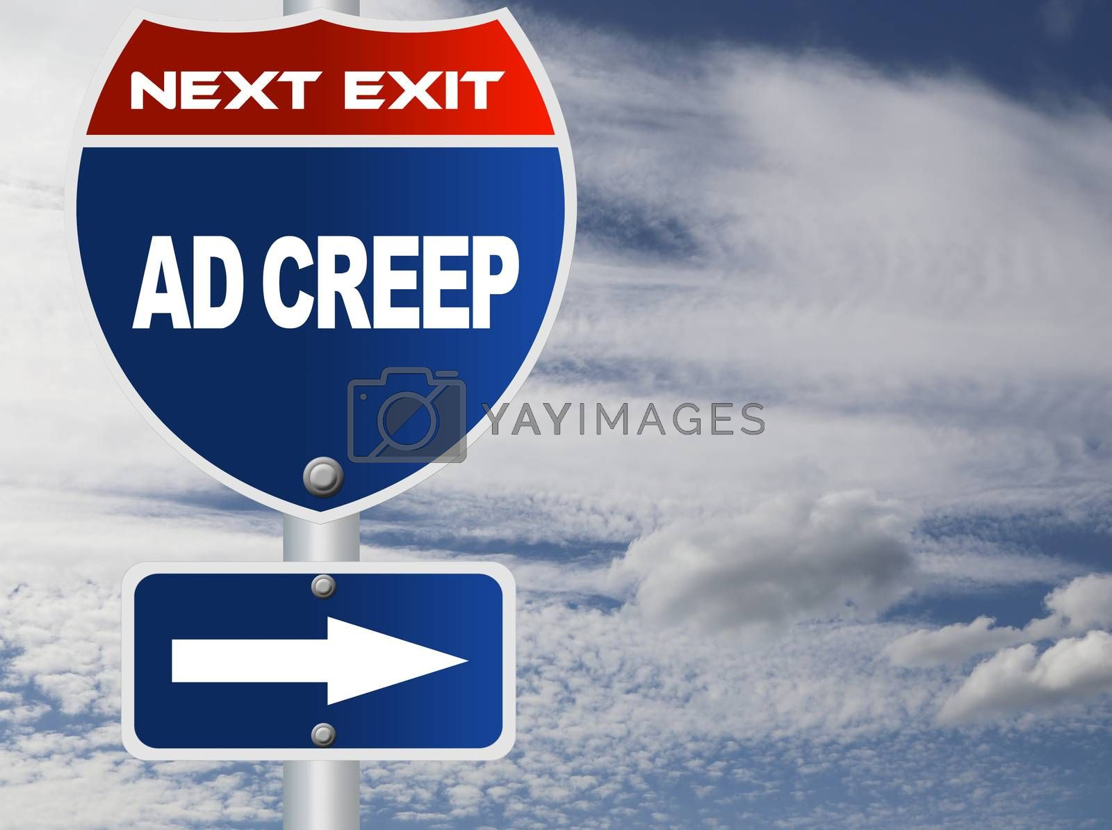 Royalty free image of Ad creep road sign by payphoto