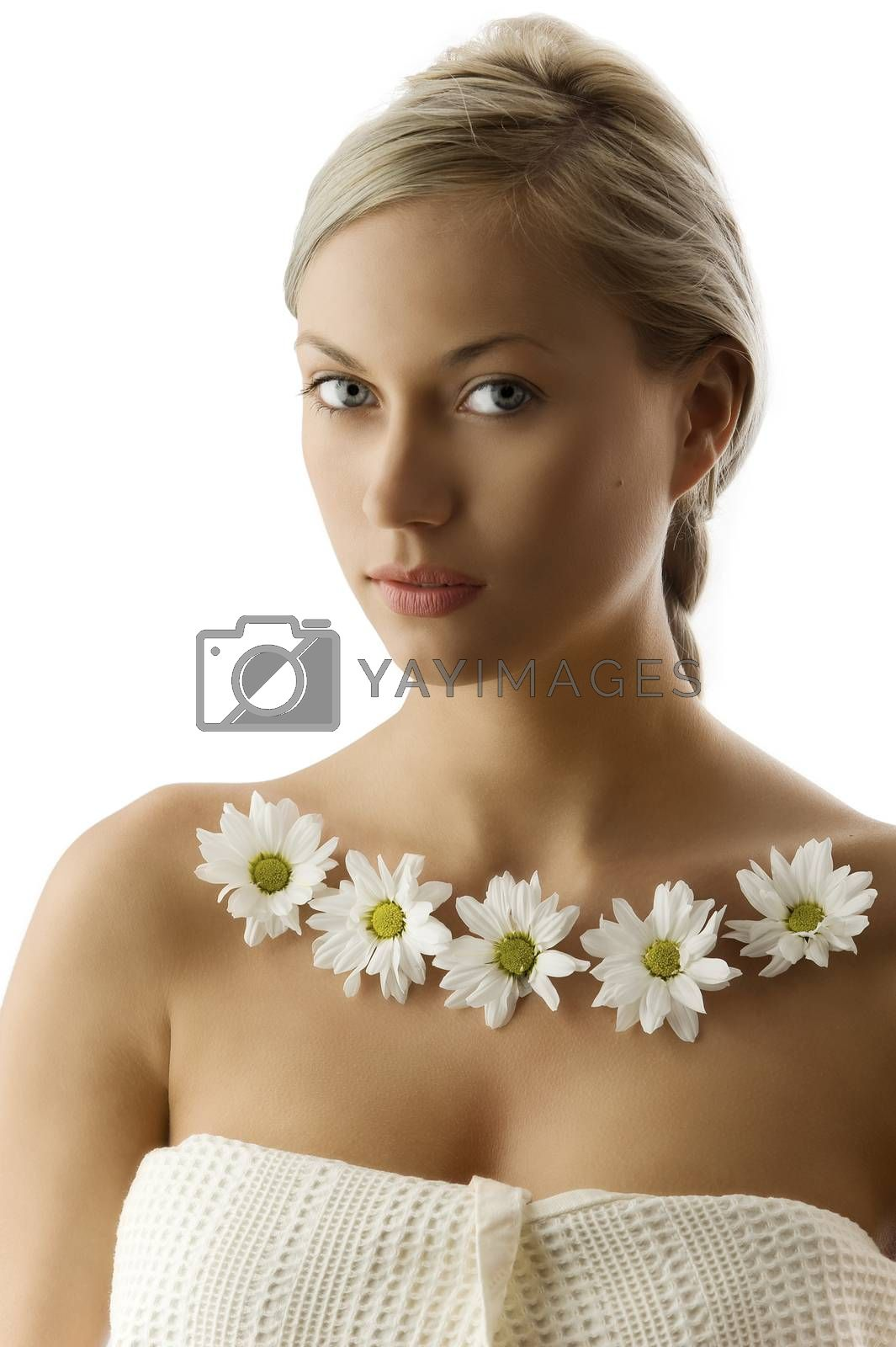 Royalty free image of blond with white daisy by fotoCD